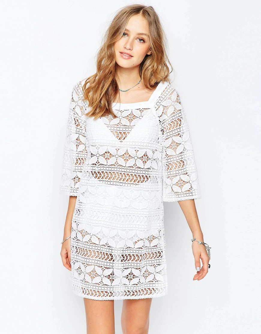 Crochet Ivory Mini Dress Ajara Ivory - style: shift; length: mid thigh; pattern: plain; predominant colour: ivory/cream; occasions: evening; fit: body skimming; fibres: cotton - 100%; sleeve length: 3/4 length; sleeve style: standard; texture group: lace; neckline: medium square neck; pattern type: fabric; season: s/s 2016; wardrobe: event