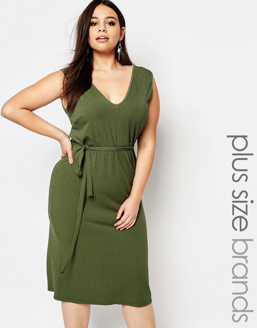 Plus Essentials Maxi Dress In Rib With Tie Waist Khaki - style: shift; length: below the knee; neckline: low v-neck; pattern: plain; sleeve style: sleeveless; waist detail: belted waist/tie at waist/drawstring; predominant colour: khaki; occasions: evening; fit: body skimming; fibres: polyester/polyamide - stretch; sleeve length: sleeveless; pattern type: fabric; texture group: jersey - stretchy/drapey; season: s/s 2016; wardrobe: event
