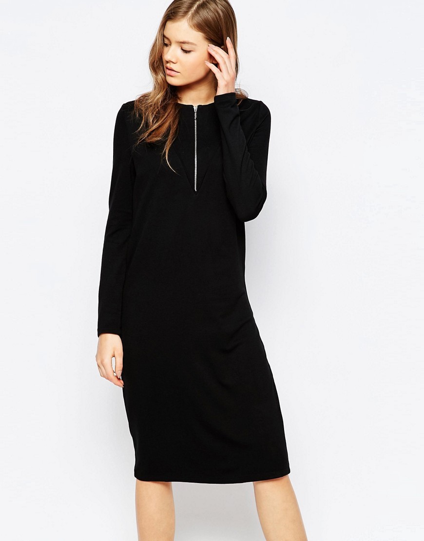 Cruna Zip Front Dress Black - style: shift; pattern: plain; predominant colour: black; occasions: evening; length: on the knee; fit: body skimming; fibres: viscose/rayon - stretch; neckline: crew; sleeve length: long sleeve; sleeve style: standard; pattern type: fabric; texture group: jersey - stretchy/drapey; embellishment: zips; season: s/s 2016
