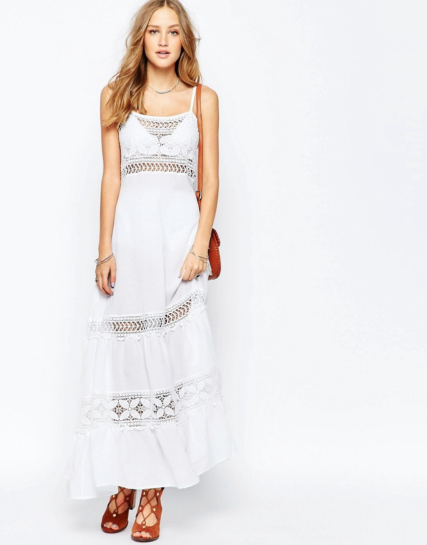 Crochet Spagetti Strap Maxi Dress Ajara Ivory - sleeve style: spaghetti straps; pattern: plain; style: maxi dress; length: ankle length; predominant colour: ivory/cream; occasions: casual; fit: soft a-line; neckline: scoop; fibres: cotton - 100%; sleeve length: sleeveless; texture group: knits/crochet; pattern type: fabric; pattern size: standard; embellishment: lace; season: s/s 2016