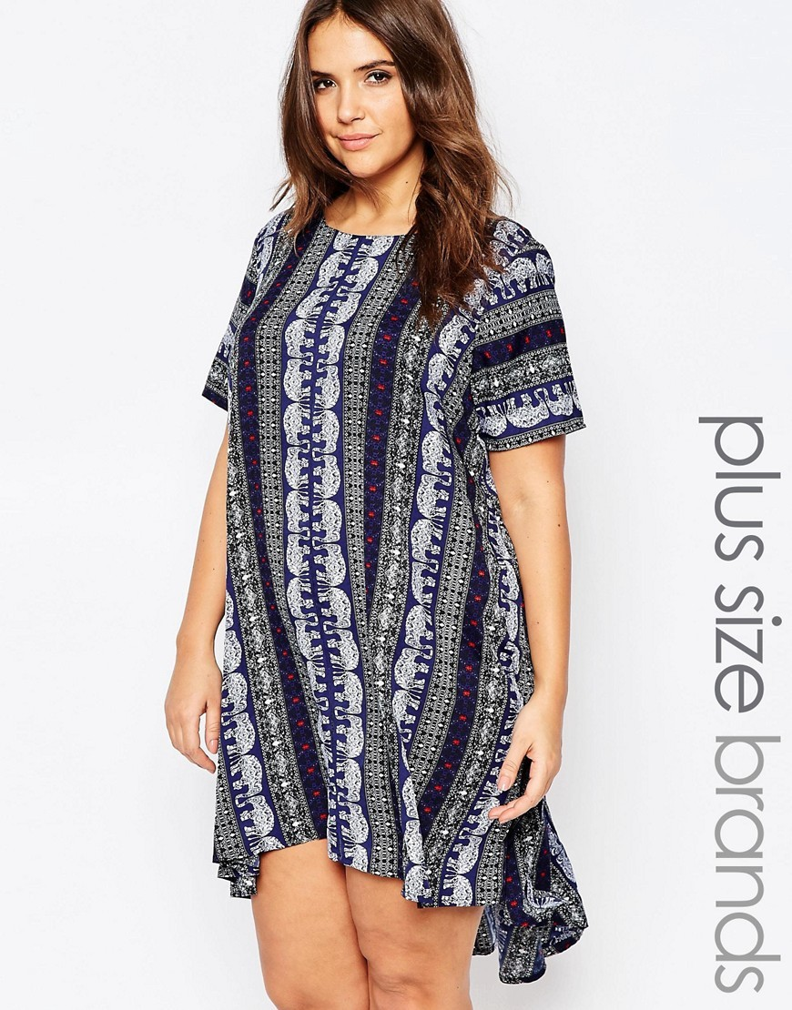 Plus Swing Dress In Elephant Print Blue Multi - style: trapeze; length: mid thigh; fit: loose; hip detail: fitted at hip; secondary colour: navy; predominant colour: light grey; occasions: casual; fibres: polyester/polyamide - 100%; neckline: crew; sleeve length: short sleeve; sleeve style: standard; pattern type: fabric; pattern: patterned/print; texture group: jersey - stretchy/drapey; multicoloured: multicoloured; season: s/s 2016