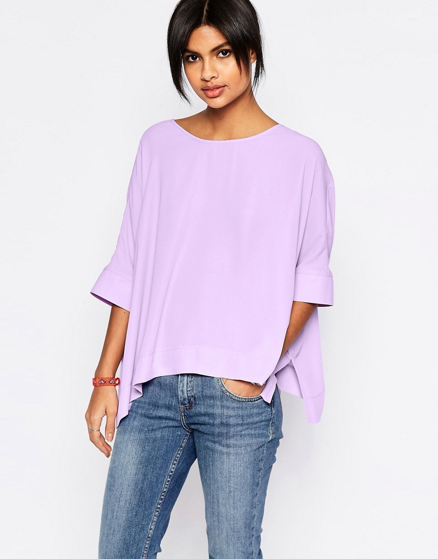 Oversize Kimono T Shirt With V Back Lilac - pattern: plain; style: t-shirt; predominant colour: lilac; occasions: casual; length: standard; fibres: polyester/polyamide - 100%; fit: loose; neckline: crew; sleeve length: half sleeve; sleeve style: standard; pattern type: fabric; texture group: jersey - stretchy/drapey; season: s/s 2016; wardrobe: highlight