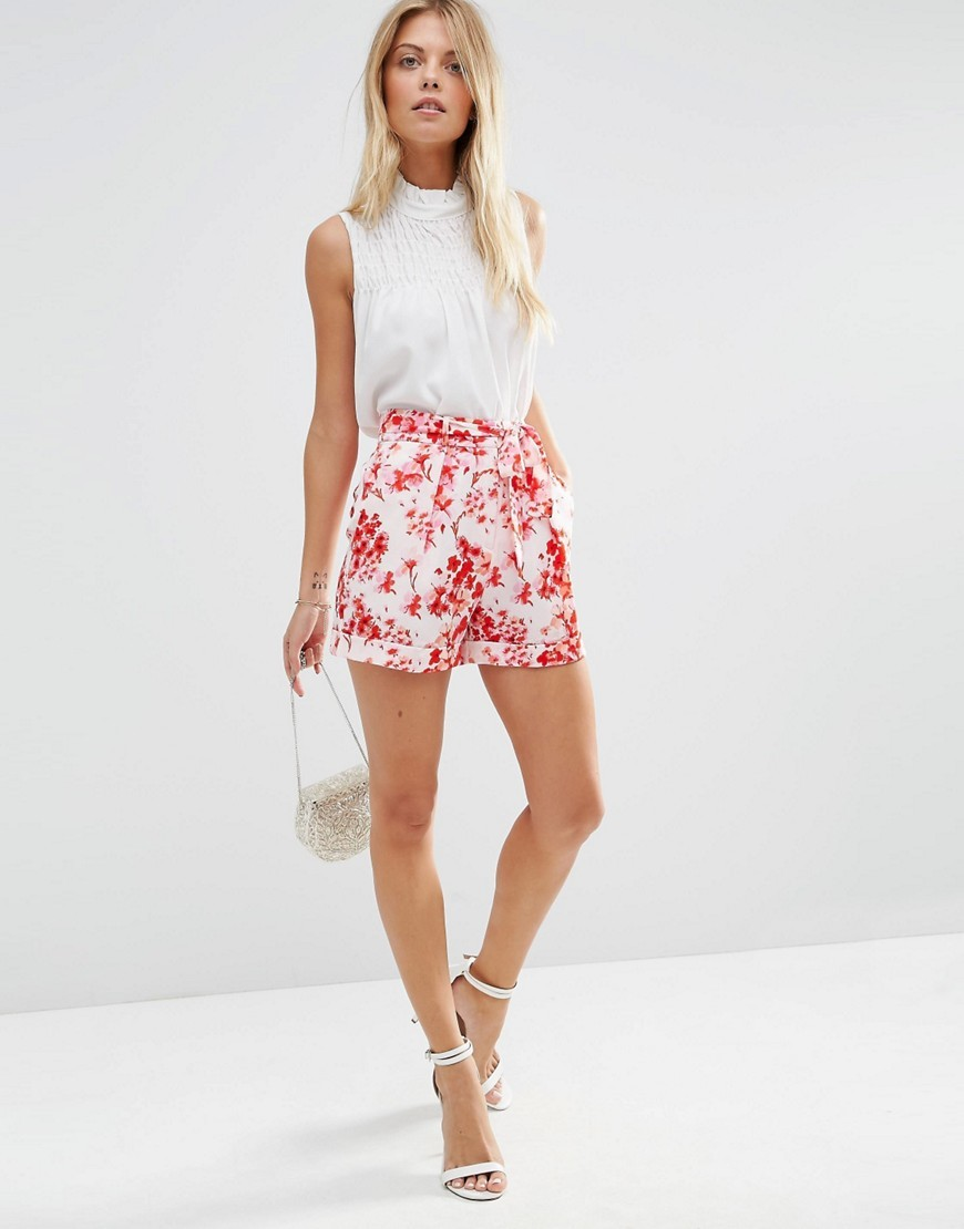 Woven Floral Shorts With Obi Tie Floral - waist detail: belted waist/tie at waist/drawstring; waist: mid/regular rise; predominant colour: white; secondary colour: true red; occasions: casual; fibres: polyester/polyamide - stretch; pattern type: fabric; pattern: florals; texture group: woven light midweight; multicoloured: multicoloured; season: s/s 2016; style: shorts; length: short shorts; fit: slim leg; wardrobe: highlight