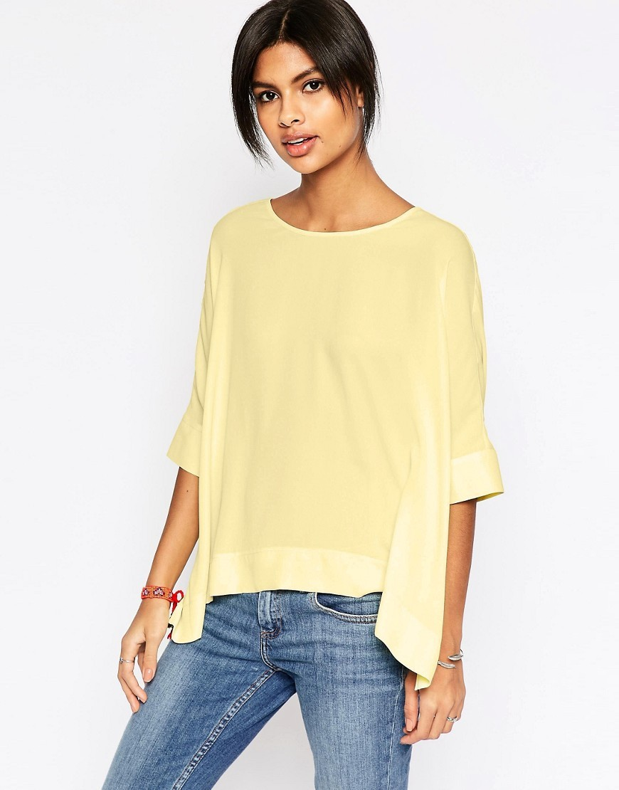 Oversize Kimono T Shirt With V Back Lemon - pattern: plain; style: t-shirt; predominant colour: primrose yellow; occasions: casual; length: standard; fibres: polyester/polyamide - 100%; fit: body skimming; neckline: crew; sleeve length: half sleeve; sleeve style: standard; pattern type: fabric; texture group: jersey - stretchy/drapey; season: s/s 2016; wardrobe: highlight