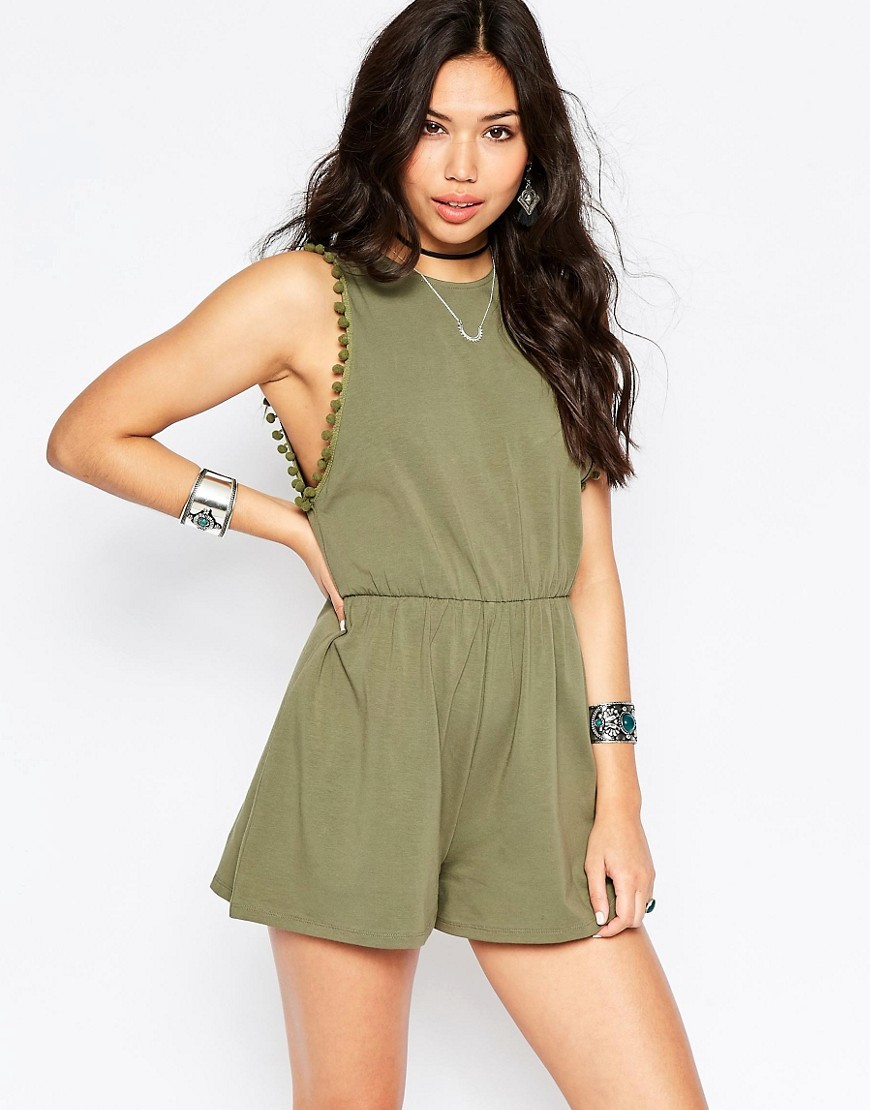 Drop Armhole Jersey Playsuit With Pom Poms Khaki - pattern: plain; sleeve style: sleeveless; length: short shorts; predominant colour: khaki; occasions: evening; fit: body skimming; fibres: cotton - stretch; neckline: crew; sleeve length: sleeveless; style: playsuit; pattern type: fabric; texture group: jersey - stretchy/drapey; season: s/s 2016; wardrobe: event