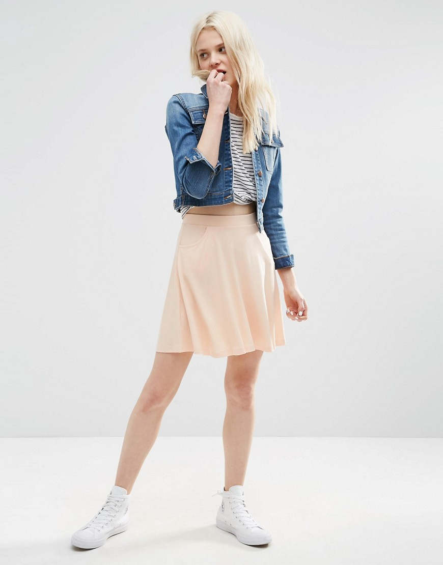 Skater Skirt With Pockets Blush - length: mid thigh; pattern: plain; fit: loose/voluminous; waist: mid/regular rise; predominant colour: blush; occasions: casual; style: fit & flare; fibres: viscose/rayon - stretch; pattern type: fabric; texture group: jersey - stretchy/drapey; season: s/s 2016; wardrobe: basic