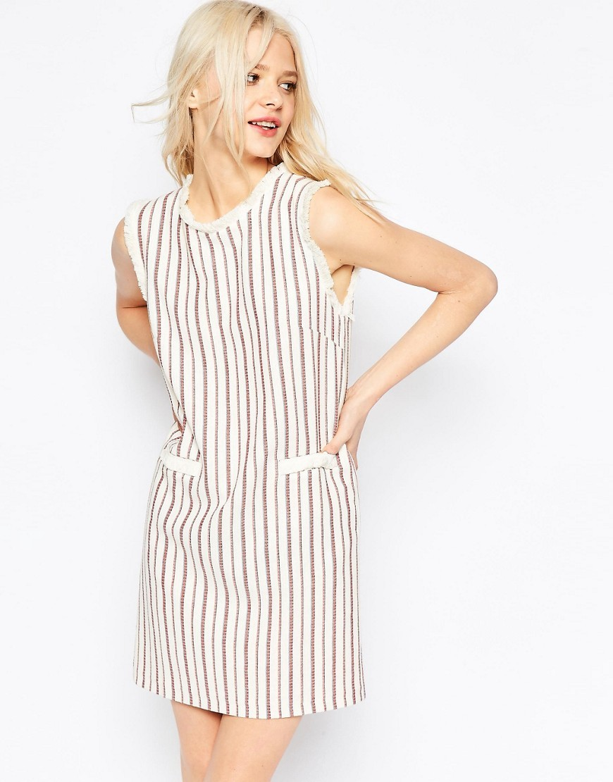 Stripe Shift Dress In Natural Fibre Cream - style: shift; length: mid thigh; pattern: vertical stripes; sleeve style: sleeveless; predominant colour: ivory/cream; secondary colour: nude; occasions: casual; fit: body skimming; fibres: cotton - 100%; neckline: crew; sleeve length: sleeveless; pattern type: fabric; texture group: other - light to midweight; multicoloured: multicoloured; season: s/s 2016