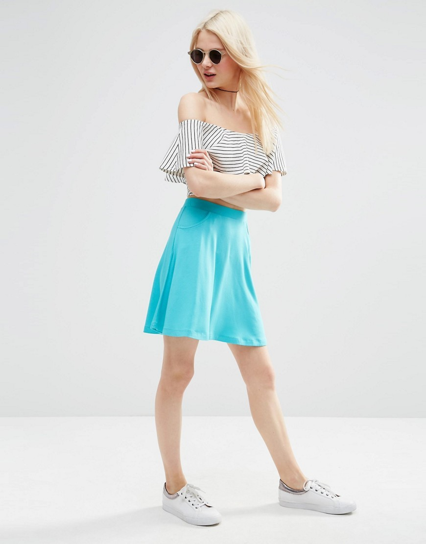 Skater Skirt With Pockets Bright Teal - pattern: plain; fit: loose/voluminous; waist: high rise; predominant colour: turquoise; occasions: casual, creative work; length: just above the knee; style: a-line; fibres: viscose/rayon - stretch; hip detail: soft pleats at hip/draping at hip/flared at hip; pattern type: fabric; texture group: jersey - stretchy/drapey; season: s/s 2016