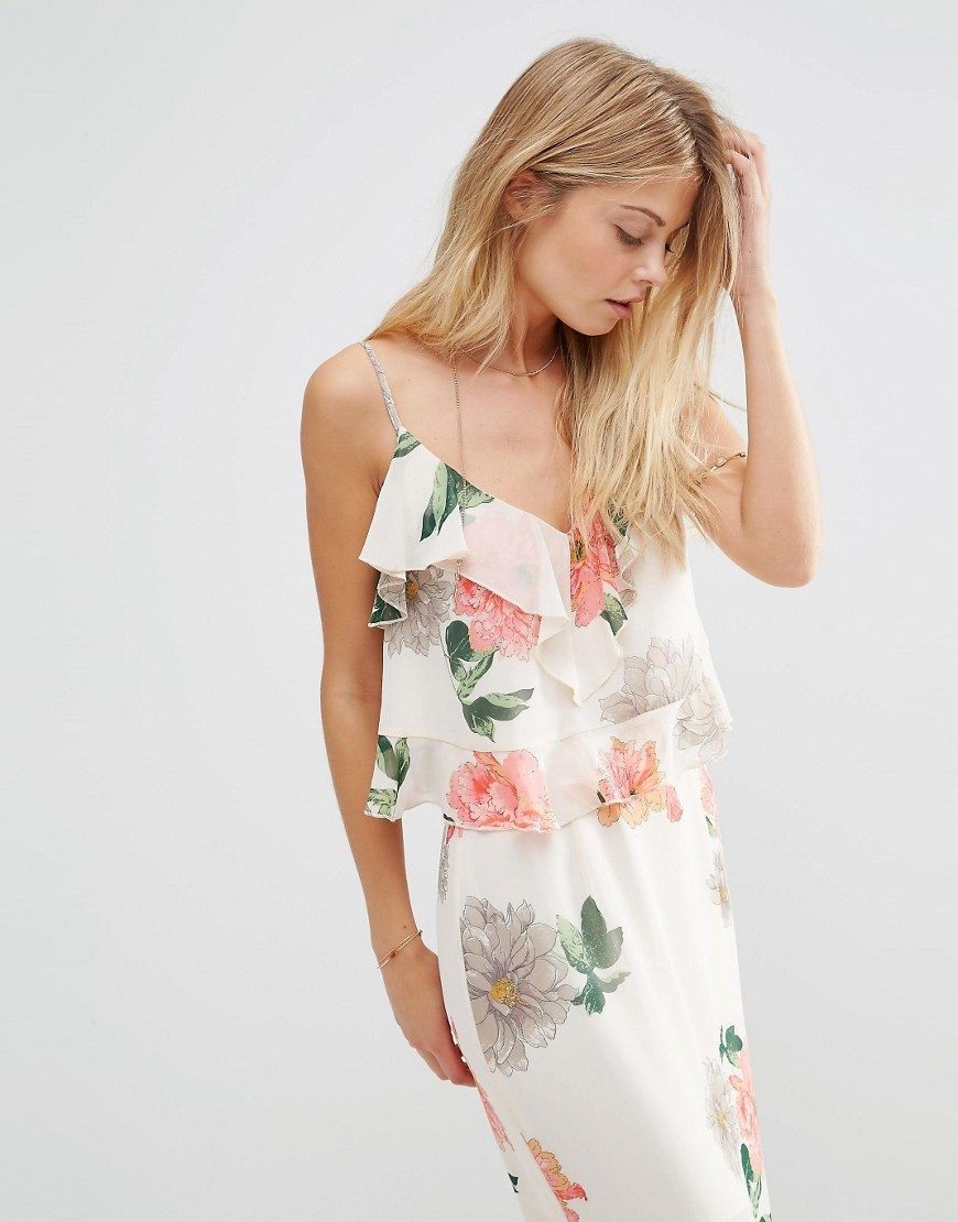 Floral Ruffle Cami Top Multi - neckline: low v-neck; sleeve style: spaghetti straps; length: cropped; style: camisole; predominant colour: white; secondary colour: nude; occasions: casual; fibres: polyester/polyamide - 100%; fit: loose; sleeve length: sleeveless; bust detail: tiers/frills/bulky drapes/pleats; pattern type: fabric; pattern size: standard; pattern: florals; texture group: woven light midweight; multicoloured: multicoloured; season: s/s 2016; wardrobe: highlight