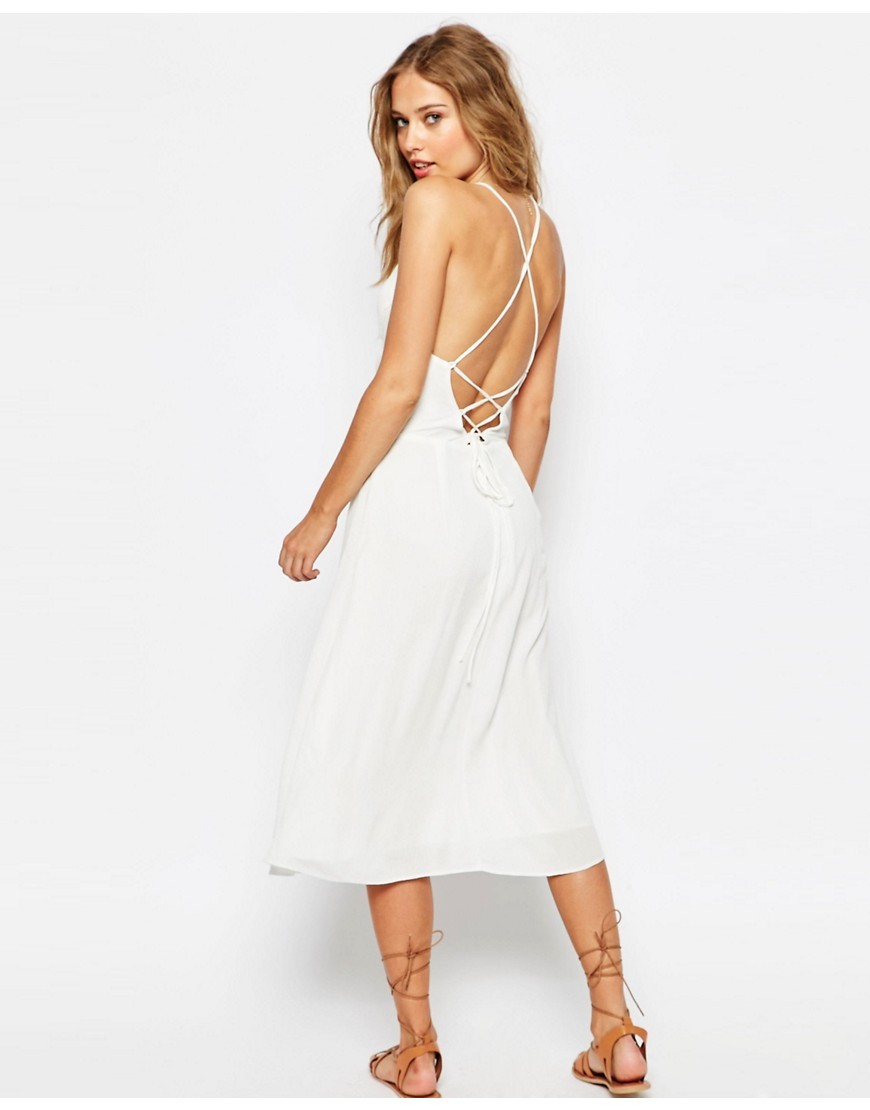 Tie Back Midi Sundress Ivory - length: calf length; pattern: plain; sleeve style: sleeveless; style: sundress; predominant colour: ivory/cream; occasions: evening; fit: fitted at waist & bust; fibres: viscose/rayon - 100%; sleeve length: sleeveless; neckline: medium square neck; pattern type: fabric; texture group: jersey - stretchy/drapey; season: s/s 2016; wardrobe: event