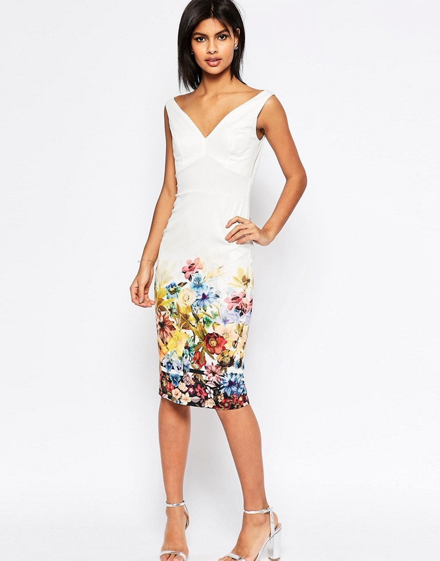 Placed Border Bardot Off The Shoulder Pencil Dress Floral - style: shift; length: below the knee; neckline: v-neck; fit: tailored/fitted; sleeve style: sleeveless; predominant colour: ivory/cream; secondary colour: yellow; fibres: polyester/polyamide - stretch; occasions: occasion; sleeve length: sleeveless; pattern type: fabric; pattern: florals; texture group: other - light to midweight; multicoloured: multicoloured; season: s/s 2016; wardrobe: event