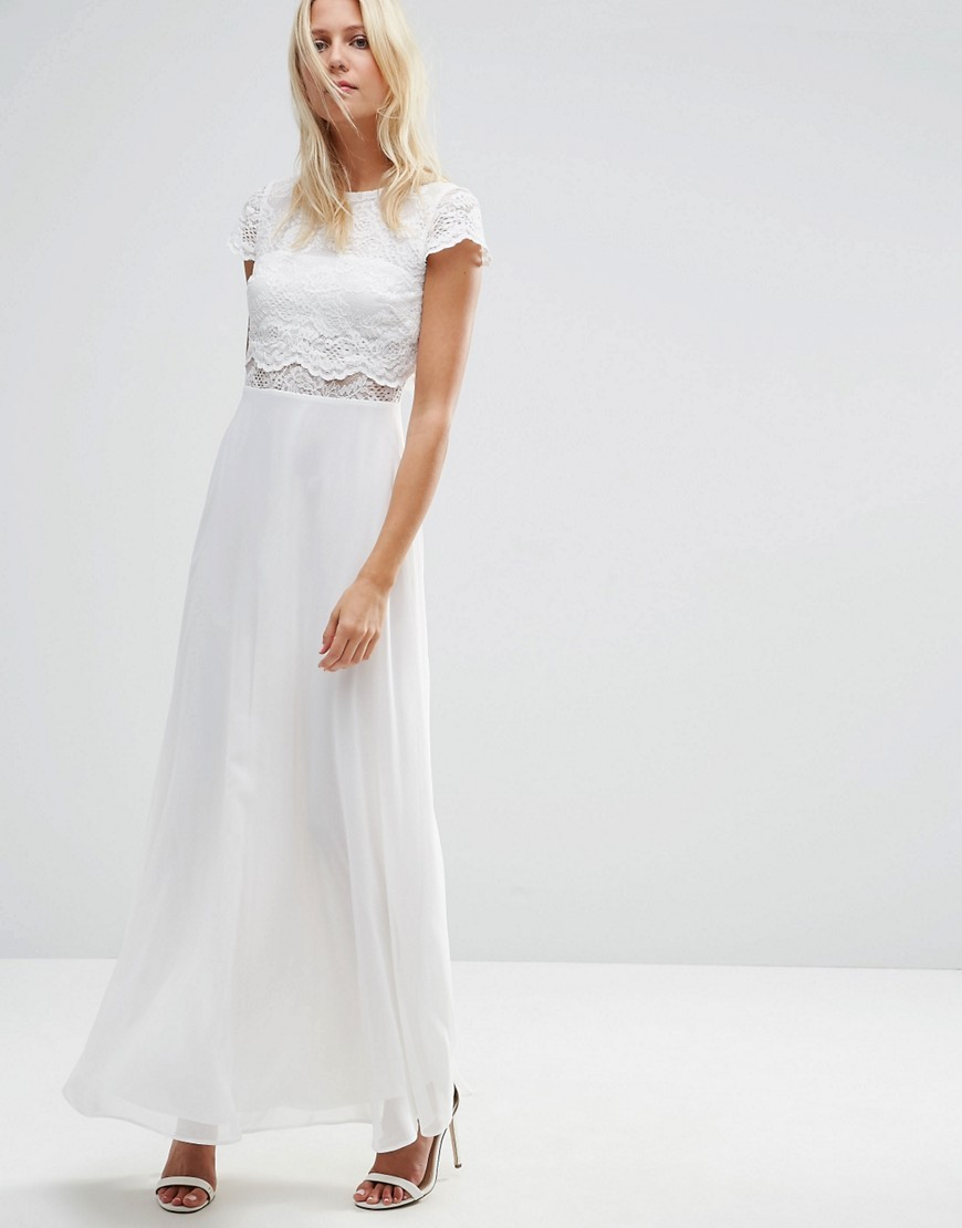 Crop Top Lace Maxi Dress White - sleeve style: capped; pattern: plain; style: maxi dress; length: ankle length; predominant colour: white; occasions: evening; fit: body skimming; fibres: polyester/polyamide - 100%; neckline: crew; sleeve length: short sleeve; texture group: lace; pattern type: fabric; embellishment: lace; season: s/s 2016