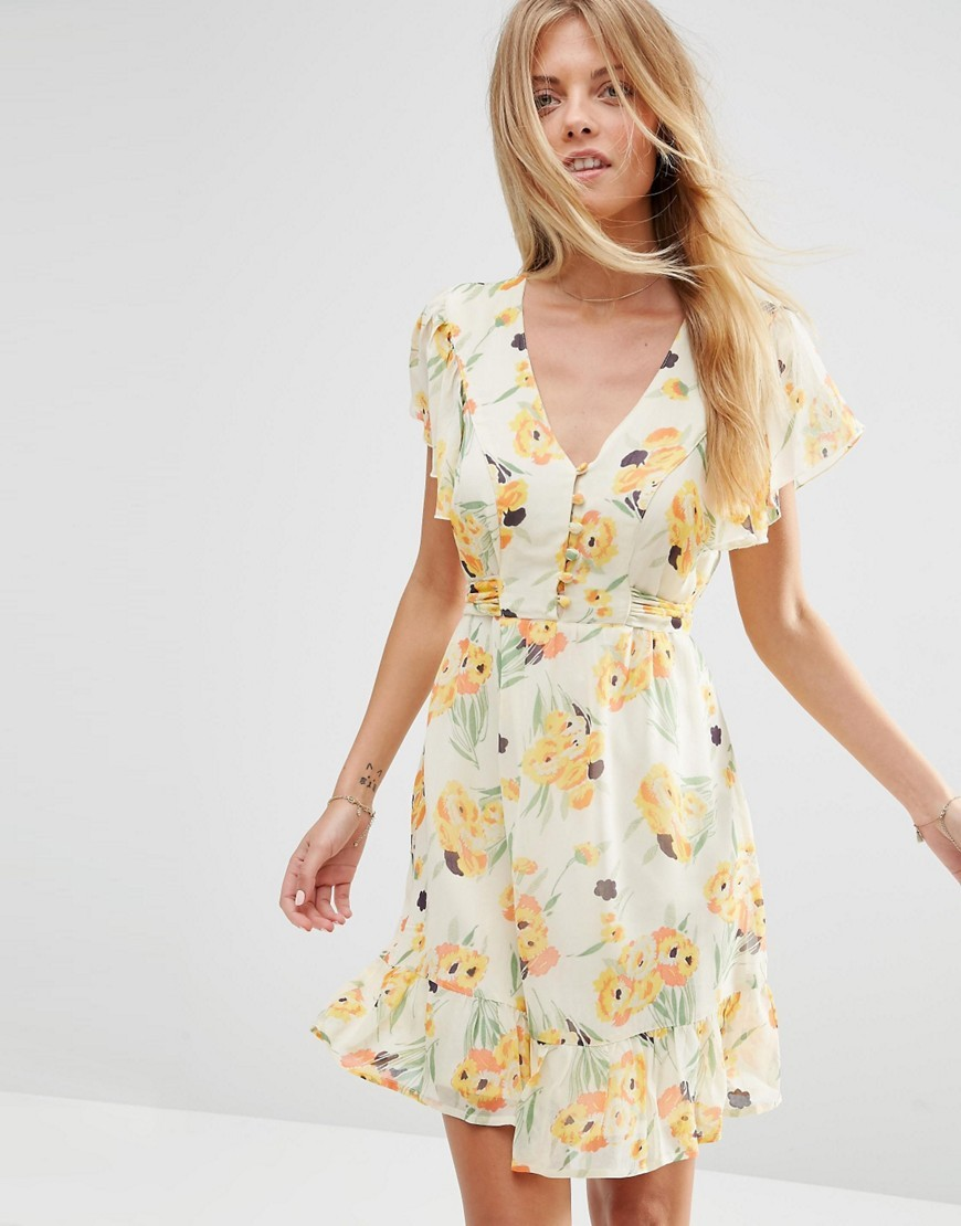 Floral Print Chiffon Tea Dress Multi - neckline: low v-neck; predominant colour: ivory/cream; secondary colour: primrose yellow; occasions: evening; length: just above the knee; fit: fitted at waist & bust; style: fit & flare; fibres: viscose/rayon - 100%; sleeve length: short sleeve; sleeve style: standard; texture group: sheer fabrics/chiffon/organza etc.; pattern type: fabric; pattern: florals; multicoloured: multicoloured; season: s/s 2016; wardrobe: event