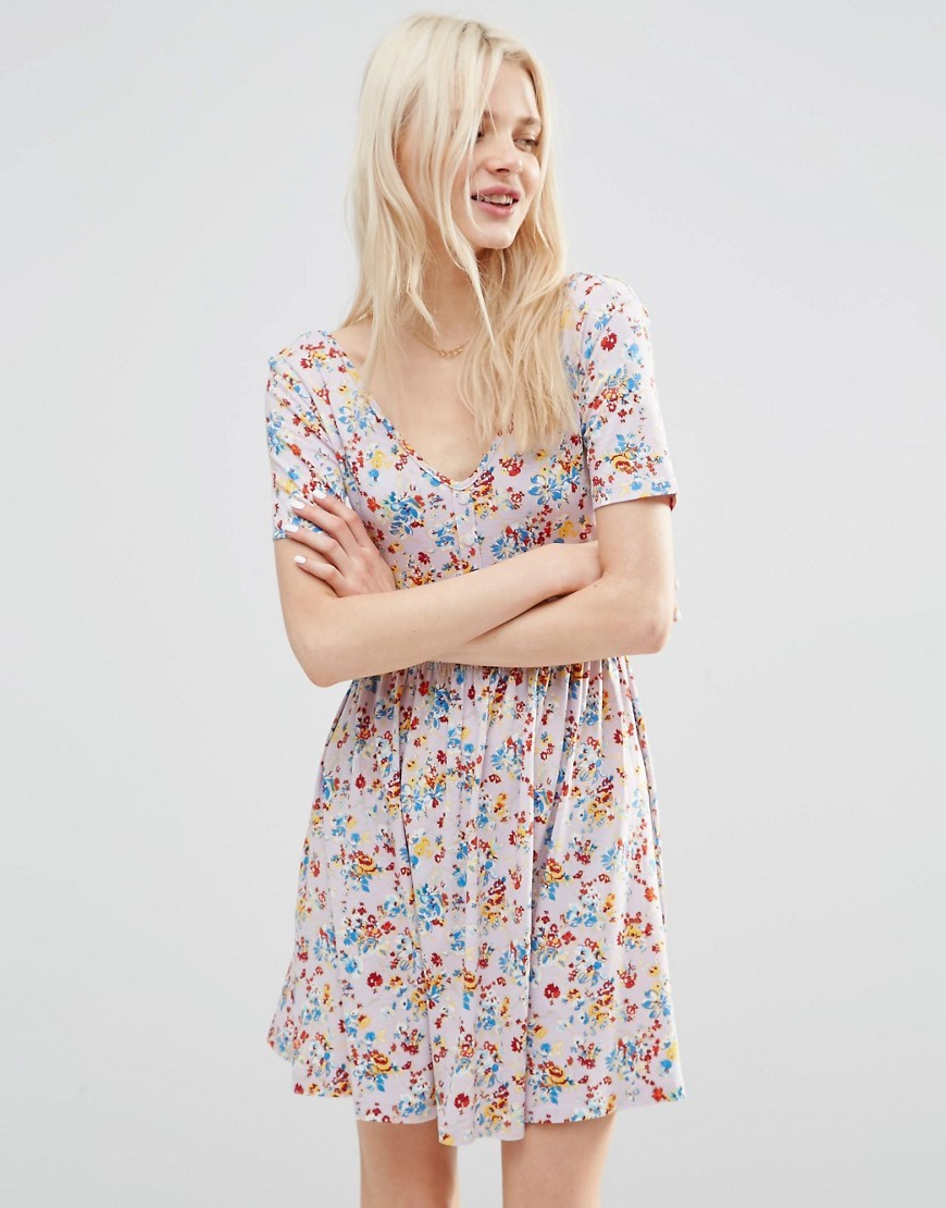 Tea Dress In Pretty Floral Print Multi - length: mid thigh; neckline: v-neck; predominant colour: blush; secondary colour: diva blue; occasions: casual; fit: fitted at waist & bust; style: fit & flare; fibres: viscose/rayon - stretch; sleeve length: short sleeve; sleeve style: standard; pattern type: fabric; pattern: florals; texture group: jersey - stretchy/drapey; multicoloured: multicoloured; season: s/s 2016; wardrobe: highlight