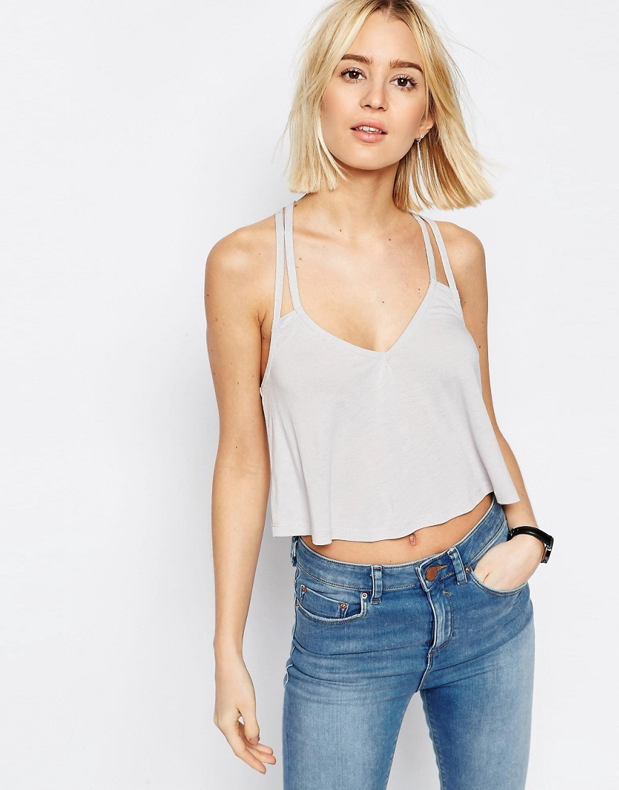 The Ultimate Crop Cami Grey - neckline: v-neck; sleeve style: spaghetti straps; pattern: plain; length: cropped; style: camisole; predominant colour: light grey; occasions: casual; fibres: viscose/rayon - 100%; fit: body skimming; sleeve length: sleeveless; texture group: silky - light; pattern type: fabric; season: s/s 2016; wardrobe: basic