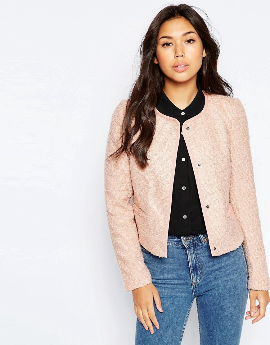 3/4 Sleeve Button Front Jacket Mahogany Rose - collar: round collar/collarless; style: boxy; pattern: herringbone/tweed; predominant colour: blush; occasions: casual, creative work; length: standard; fit: straight cut (boxy); fibres: polyester/polyamide - 100%; sleeve length: long sleeve; sleeve style: standard; collar break: high; pattern type: fabric; pattern size: light/subtle; texture group: tweed - light/midweight; season: s/s 2016; wardrobe: basic