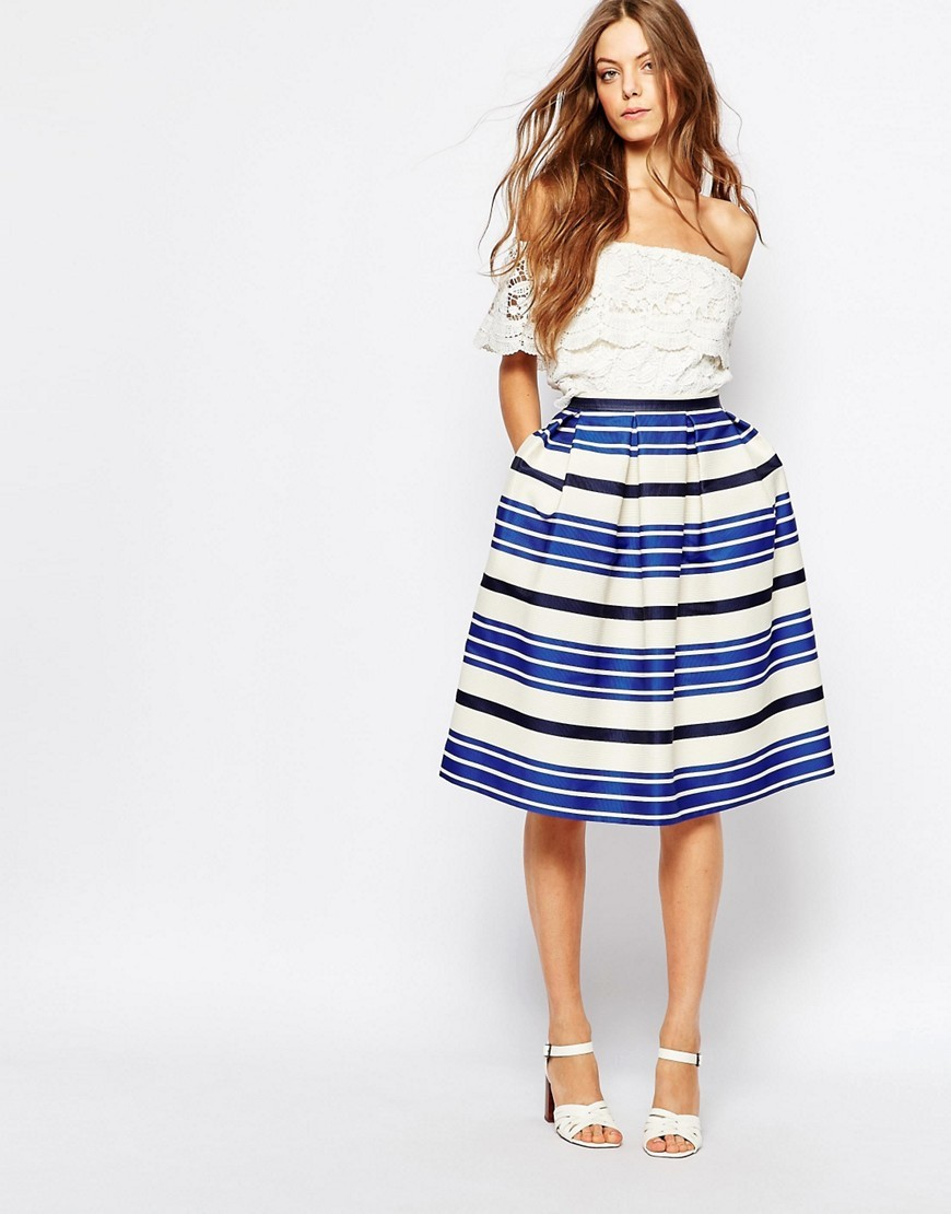 Sister Croisette Blue Stripe Full Midi Skirt Blue - length: below the knee; style: full/prom skirt; fit: loose/voluminous; waist: high rise; secondary colour: white; predominant colour: royal blue; fibres: polyester/polyamide - mix; occasions: occasion; pattern type: fabric; texture group: other - light to midweight; pattern: horizontal stripes (bottom); multicoloured: multicoloured; season: s/s 2016; wardrobe: event