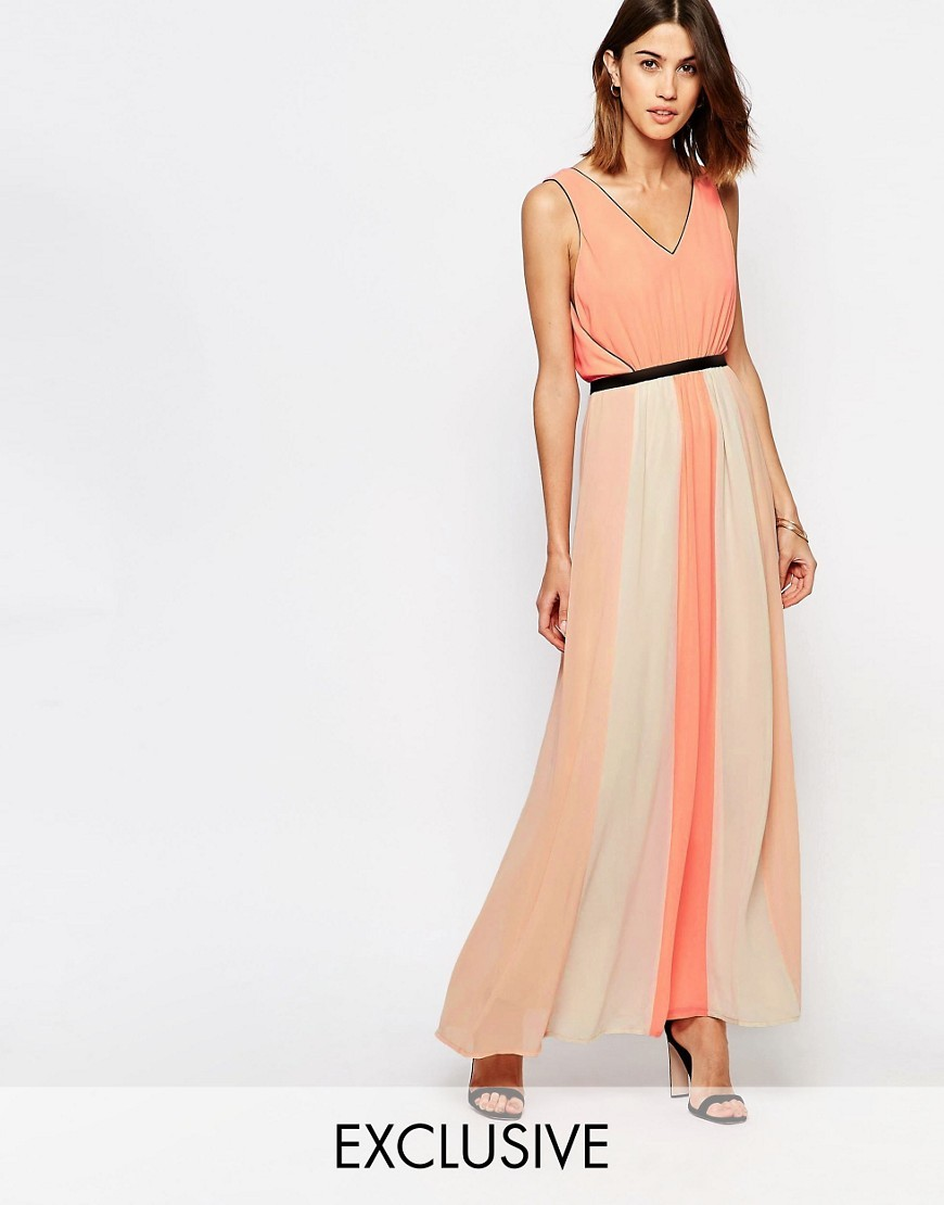 Colour Block Pleated Maxi Dress Dessert Flower - neckline: v-neck; sleeve style: sleeveless; style: maxi dress; length: ankle length; back detail: low cut/open back; secondary colour: ivory/cream; predominant colour: coral; fit: soft a-line; fibres: polyester/polyamide - 100%; occasions: occasion; sleeve length: sleeveless; texture group: sheer fabrics/chiffon/organza etc.; pattern type: fabric; pattern: colourblock; season: s/s 2016
