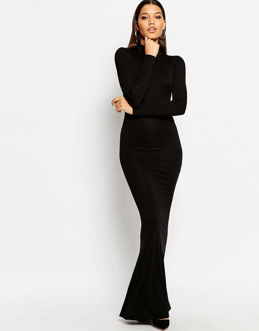 High Neck Jersey Maxi Dress Black - pattern: plain; style: maxi dress; neckline: high neck; length: ankle length; hip detail: fitted at hip; predominant colour: black; occasions: evening; fit: body skimming; fibres: polyester/polyamide - stretch; sleeve length: long sleeve; sleeve style: standard; texture group: jersey - clingy; pattern type: fabric; season: s/s 2016; wardrobe: event