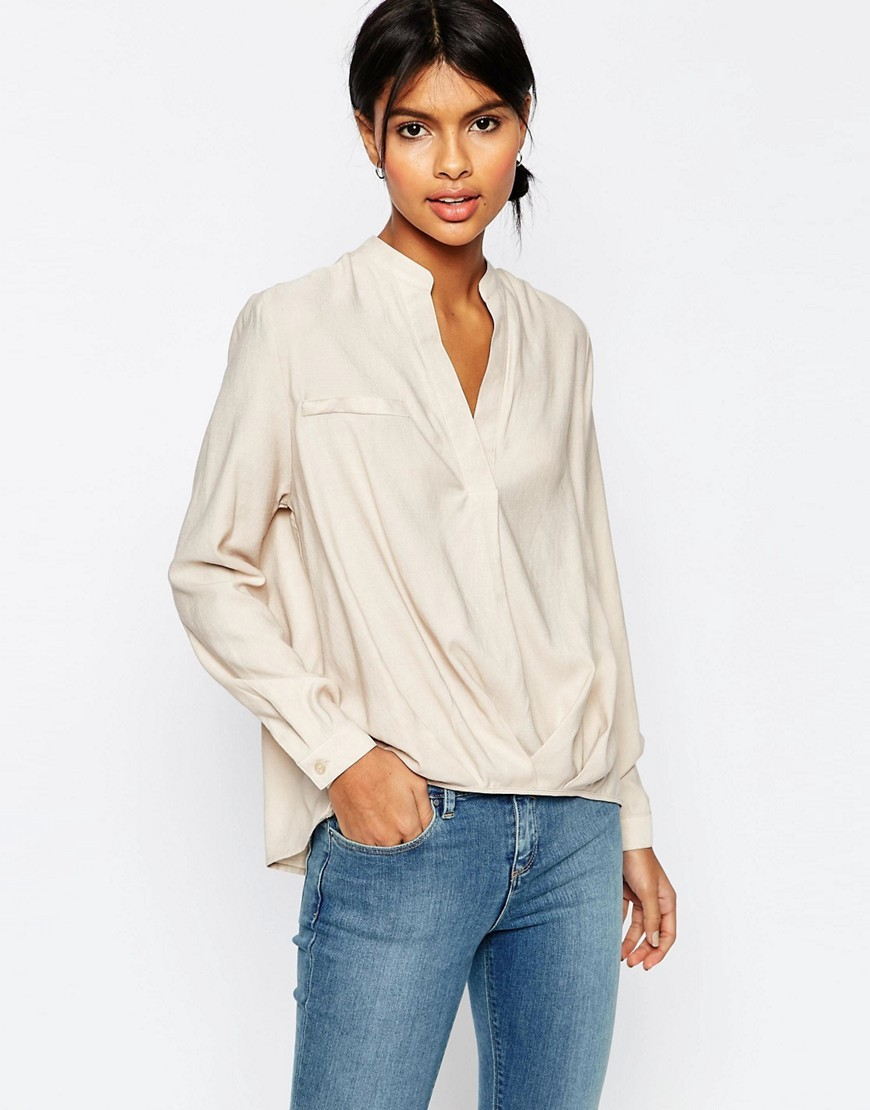 Casual Tuck Detail Blouse In Linen Mix Stone - pattern: plain; style: blouse; predominant colour: stone; occasions: casual; length: standard; neckline: collarstand & mandarin with v-neck; fibres: linen - mix; fit: loose; sleeve length: long sleeve; sleeve style: standard; texture group: linen; bust detail: bulky details at bust; pattern type: fabric; season: s/s 2016; wardrobe: highlight