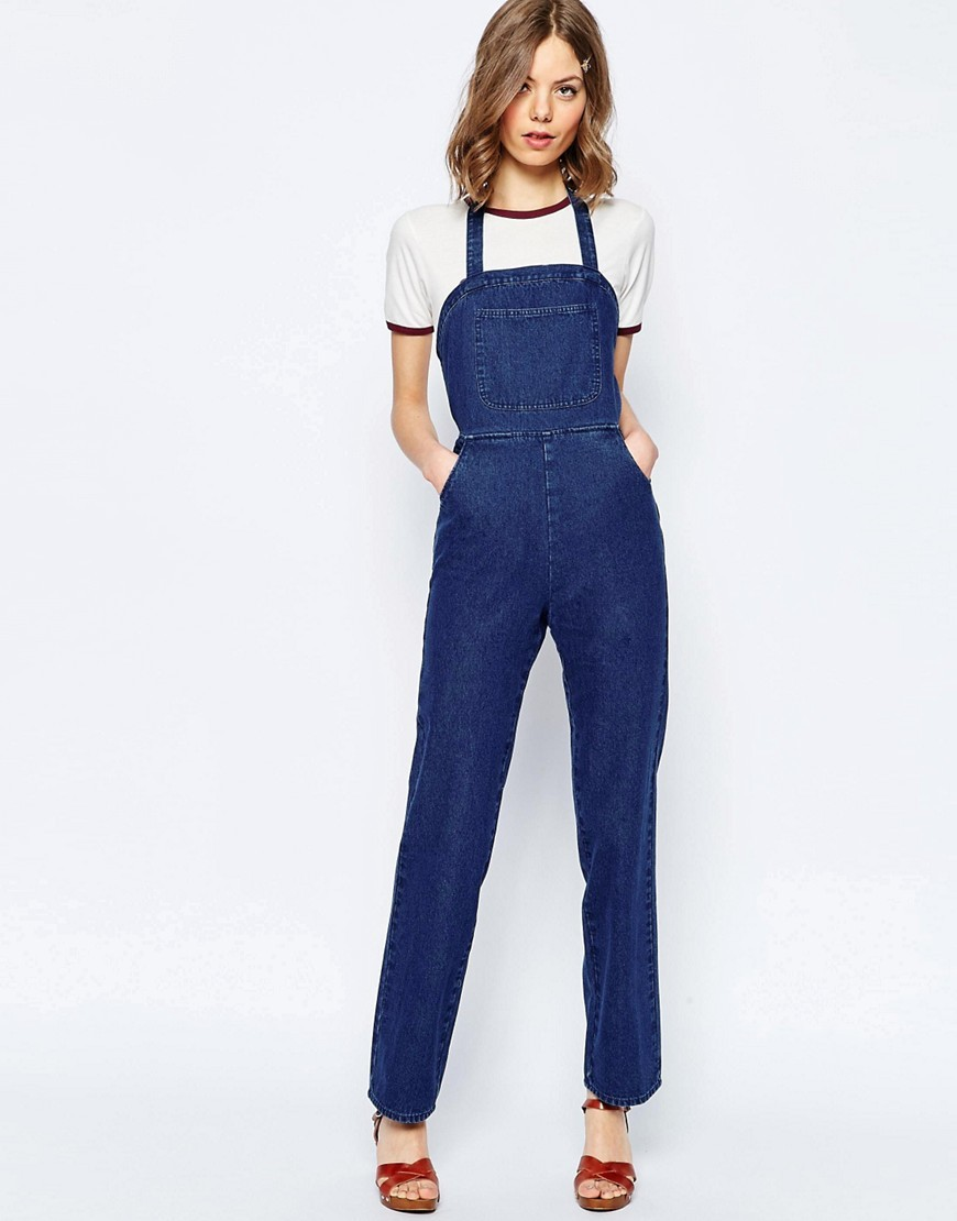 Denim Dungarees With Halter Neck Darkwash Blue - length: standard; sleeve style: standard vest straps/shoulder straps; pattern: plain; neckline: low halter neck; predominant colour: navy; occasions: casual; fit: body skimming; fibres: cotton - mix; sleeve length: sleeveless; texture group: denim; style: dungarees; pattern type: fabric; season: s/s 2016; wardrobe: highlight