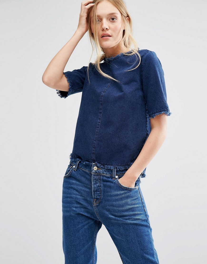 Raw Edge Denim Tee Blue Wash - pattern: plain; style: t-shirt; predominant colour: navy; occasions: casual; length: standard; fibres: cotton - stretch; fit: straight cut; neckline: crew; sleeve length: half sleeve; sleeve style: standard; texture group: denim; pattern type: fabric; season: s/s 2016