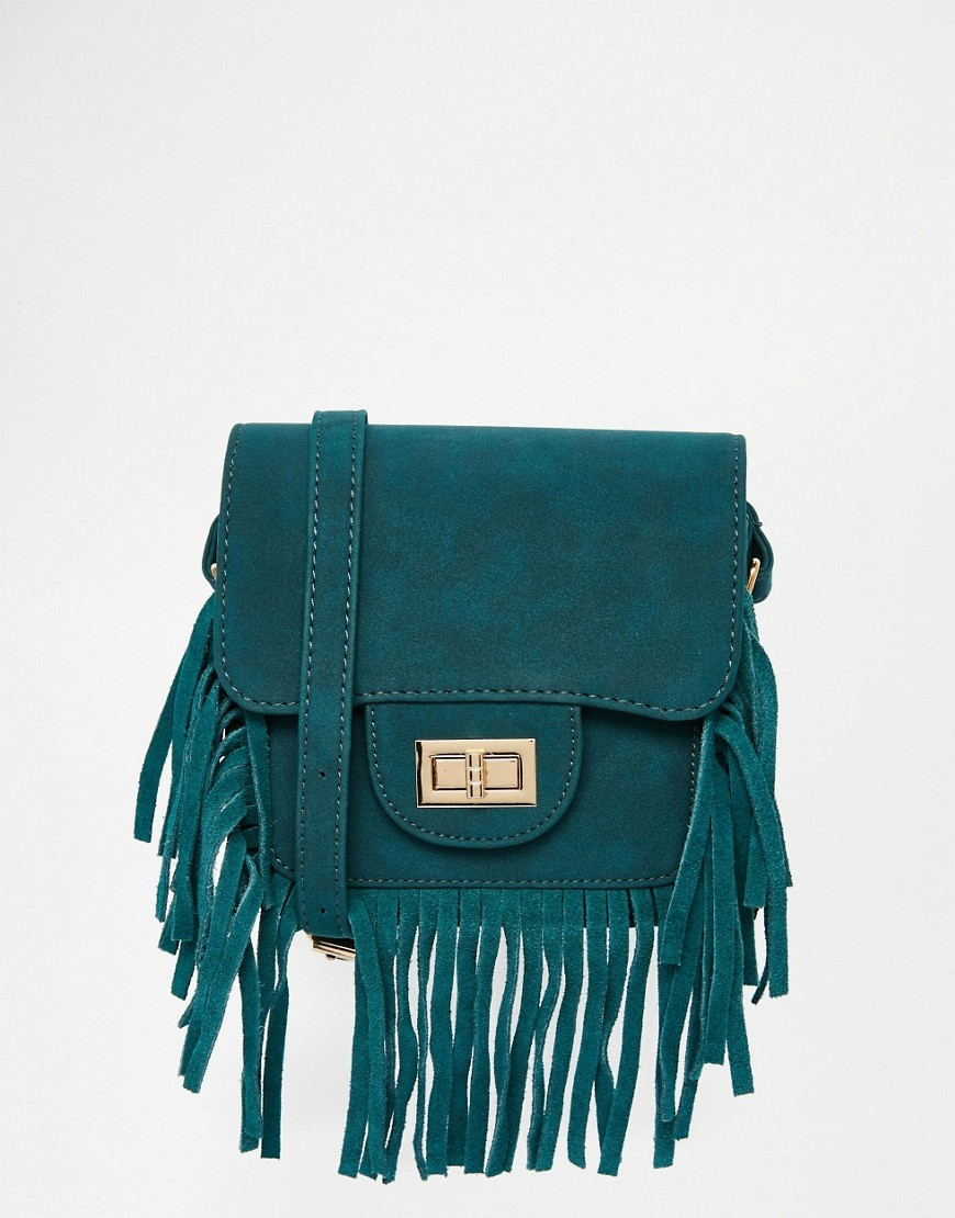 Fringed Shoulder Bag Teal - predominant colour: teal; occasions: casual, creative work; type of pattern: standard; style: satchel; length: shoulder (tucks under arm); size: standard; material: suede; embellishment: fringing; pattern: plain; finish: plain; season: s/s 2016; wardrobe: highlight