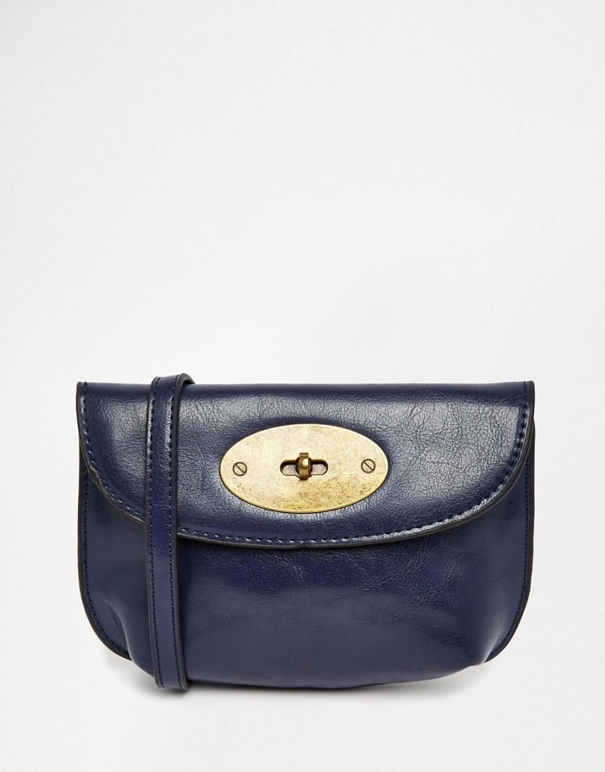 Mini Cross Body Bag Blue - predominant colour: navy; occasions: casual, creative work; type of pattern: standard; style: saddle; length: across body/long; size: small; material: faux leather; pattern: plain; finish: plain; season: s/s 2016; wardrobe: basic