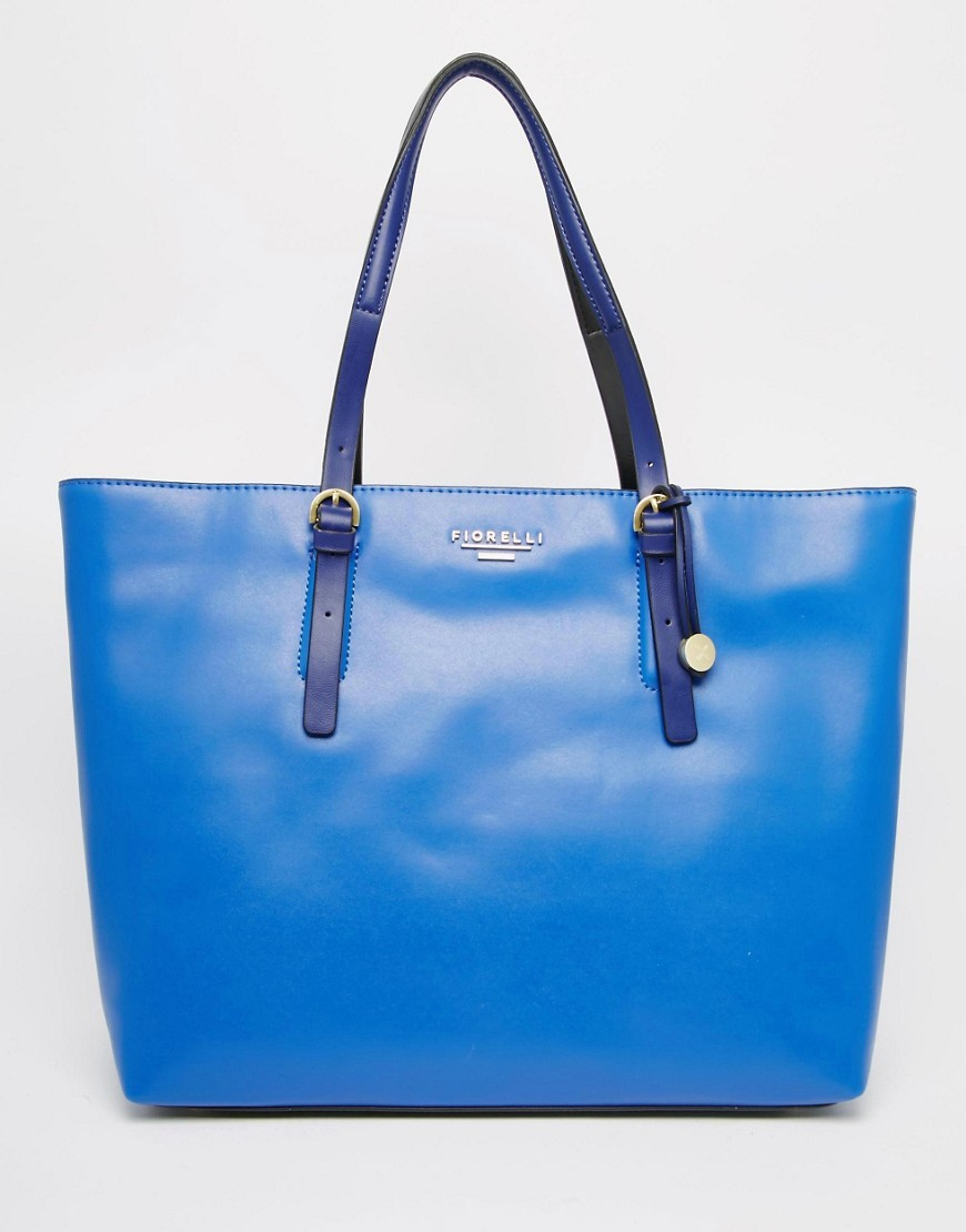 Shopper Bag Electric Blue - predominant colour: diva blue; occasions: casual, creative work; type of pattern: standard; style: tote; length: handle; size: oversized; material: faux leather; pattern: plain; finish: plain; season: s/s 2016; wardrobe: highlight