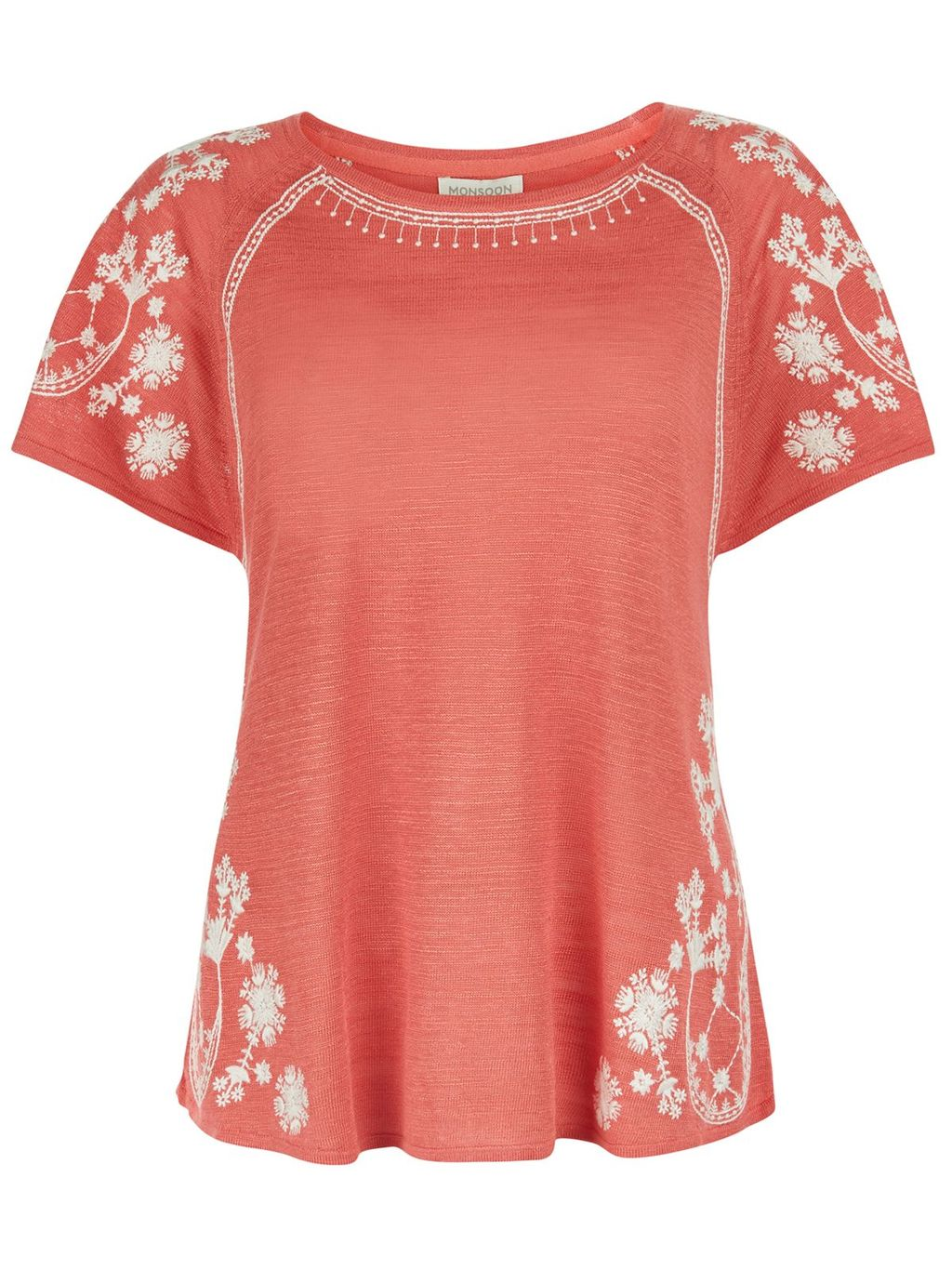 Valentina Embroidered Linen Top, Coral - neckline: round neck; sleeve style: dolman/batwing; predominant colour: coral; occasions: casual, creative work; length: standard; style: top; fibres: linen - mix; fit: body skimming; sleeve length: short sleeve; texture group: linen; pattern type: fabric; pattern: patterned/print; embellishment: embroidered; season: s/s 2016; wardrobe: highlight