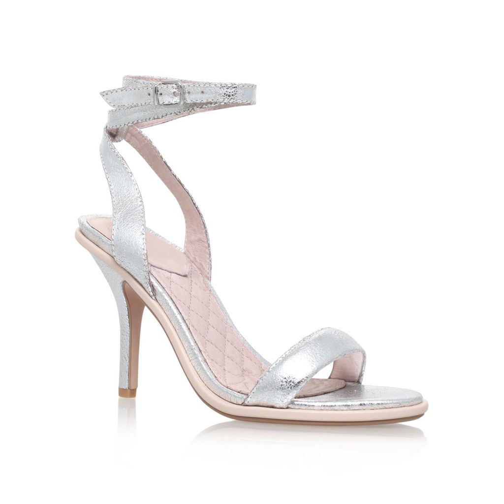 Ibiza High Heel Sandals, Silver - predominant colour: silver; occasions: evening, occasion; material: faux leather; heel height: high; ankle detail: ankle strap; heel: stiletto; toe: toe thongs; style: standard; finish: metallic; pattern: plain; season: s/s 2016; wardrobe: event