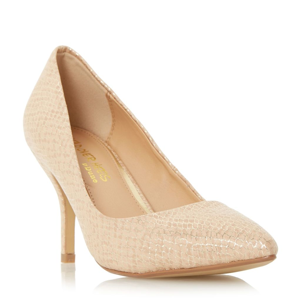 Andrina Pointed Toe Mid Heel Court Shoes, Nude - predominant colour: nude; occasions: evening, occasion; material: faux leather; heel height: high; heel: stiletto; toe: pointed toe; style: courts; finish: plain; pattern: plain; season: s/s 2016; wardrobe: event