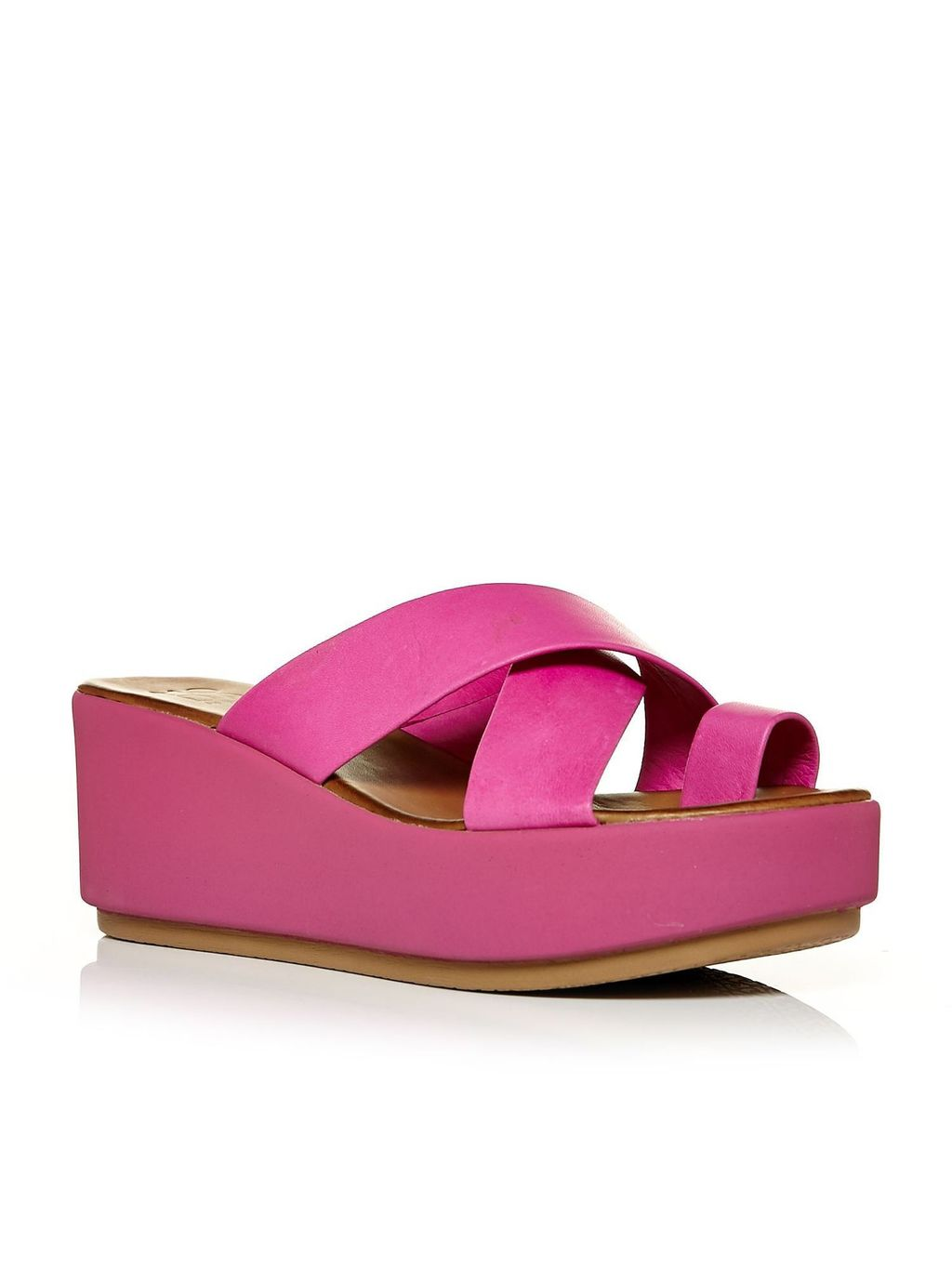 Primki Flatform Sandals, Fuchsia - predominant colour: hot pink; occasions: casual, holiday; material: leather; heel height: high; heel: wedge; toe: open toe/peeptoe; style: strappy; finish: plain; pattern: plain; shoe detail: platform; season: s/s 2016; wardrobe: highlight