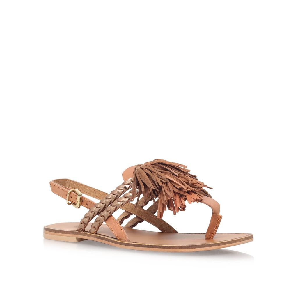 Brass Low Heel Sandals, Tan - predominant colour: tan; material: leather; heel height: flat; heel: block; toe: toe thongs; style: standard; occasions: holiday; finish: plain; pattern: plain; embellishment: fringing; season: s/s 2016; wardrobe: highlight