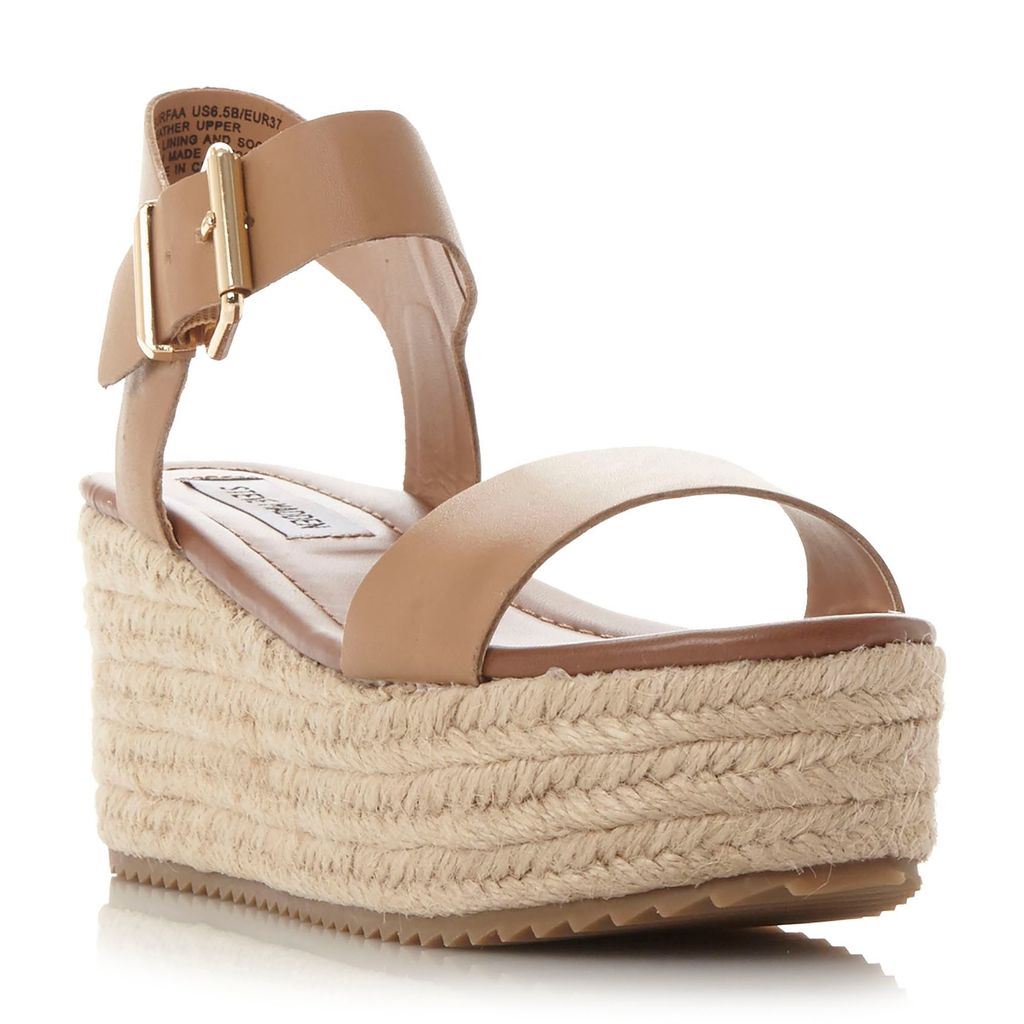 Surfaa Espadrilles, Natural - predominant colour: stone; occasions: casual, holiday; material: leather; heel height: high; ankle detail: ankle strap; heel: wedge; toe: open toe/peeptoe; style: standard; finish: plain; pattern: plain; season: s/s 2016; wardrobe: investment