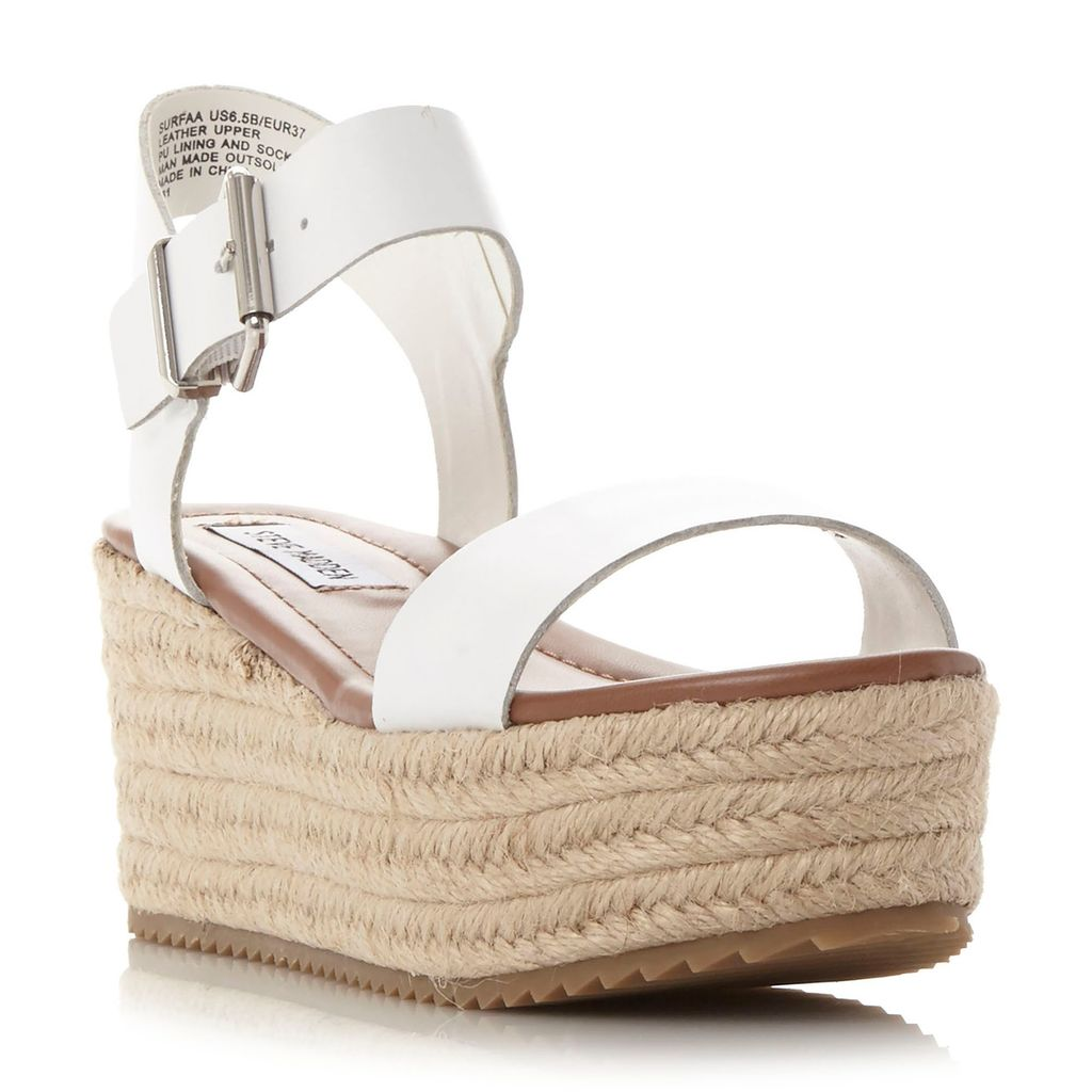Surfaa Espadrilles, White - predominant colour: white; occasions: casual, holiday; material: leather; heel height: high; heel: wedge; toe: open toe/peeptoe; style: standard; finish: plain; pattern: plain; shoe detail: platform; season: s/s 2016; wardrobe: investment