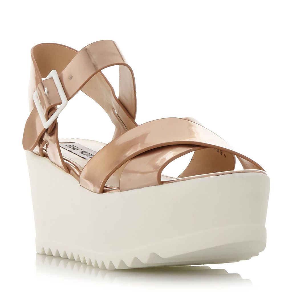 Simpill Cross Strap Cleated Sandals, Rose Gold - predominant colour: gold; occasions: casual; material: faux leather; heel height: high; ankle detail: ankle strap; heel: wedge; toe: open toe/peeptoe; style: strappy; finish: metallic; pattern: plain; shoe detail: moulded soul; season: s/s 2016; wardrobe: highlight