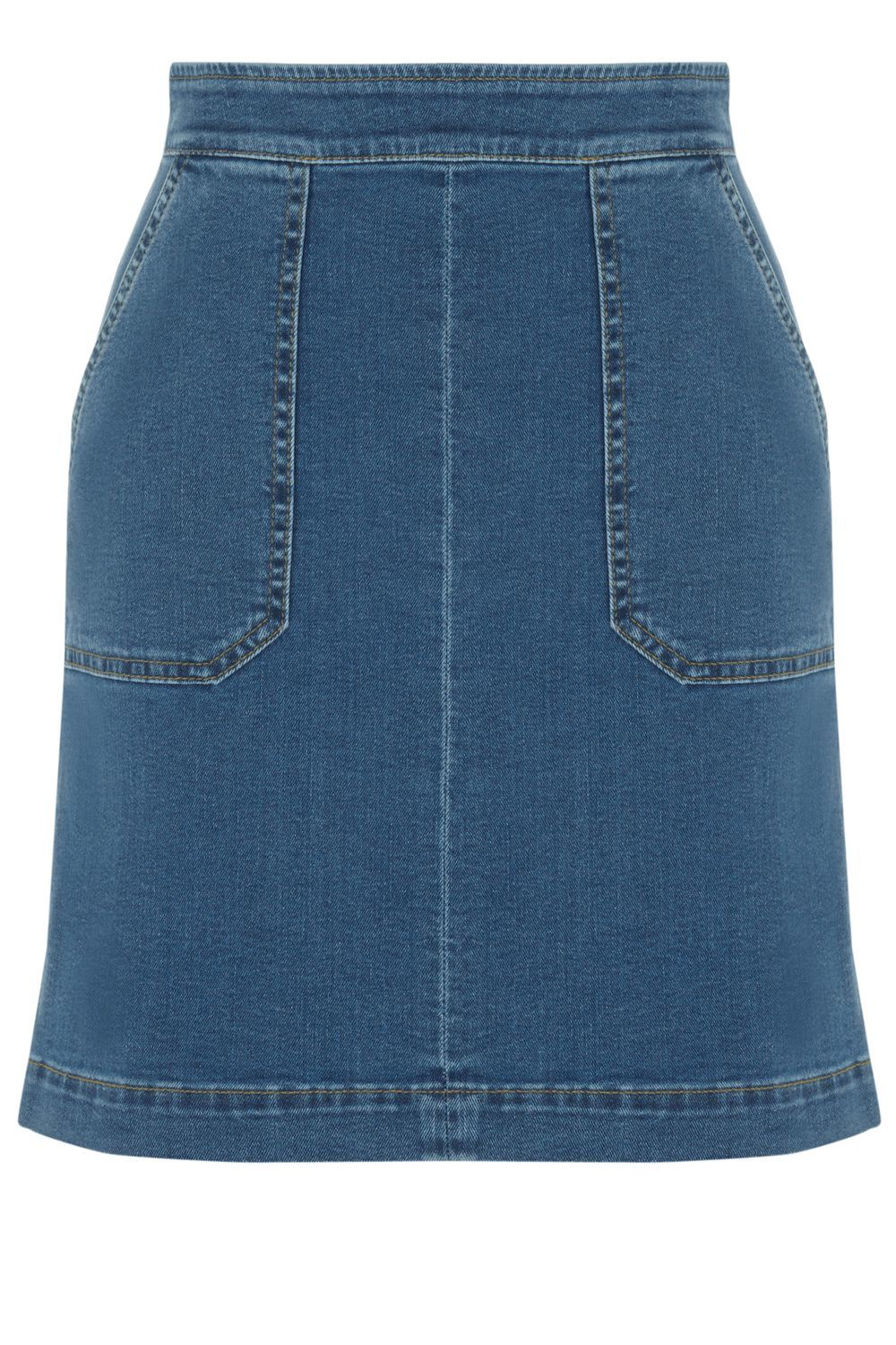 Pocket Detail Denim Skirt, Denim Light Wash - length: mid thigh; pattern: plain; fit: loose/voluminous; waist: high rise; predominant colour: denim; occasions: casual; style: a-line; fibres: cotton - 100%; texture group: denim; pattern type: fabric; season: s/s 2016; wardrobe: basic