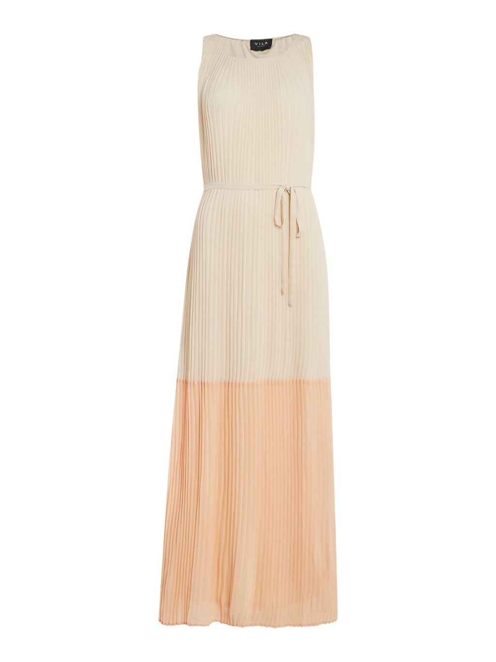 Pleated Maxi, Cream - sleeve style: sleeveless; style: maxi dress; length: ankle length; waist detail: belted waist/tie at waist/drawstring; predominant colour: ivory/cream; secondary colour: nude; occasions: evening; fit: body skimming; fibres: polyester/polyamide - 100%; neckline: crew; sleeve length: sleeveless; pattern type: fabric; pattern: colourblock; texture group: other - light to midweight; multicoloured: multicoloured; season: s/s 2016