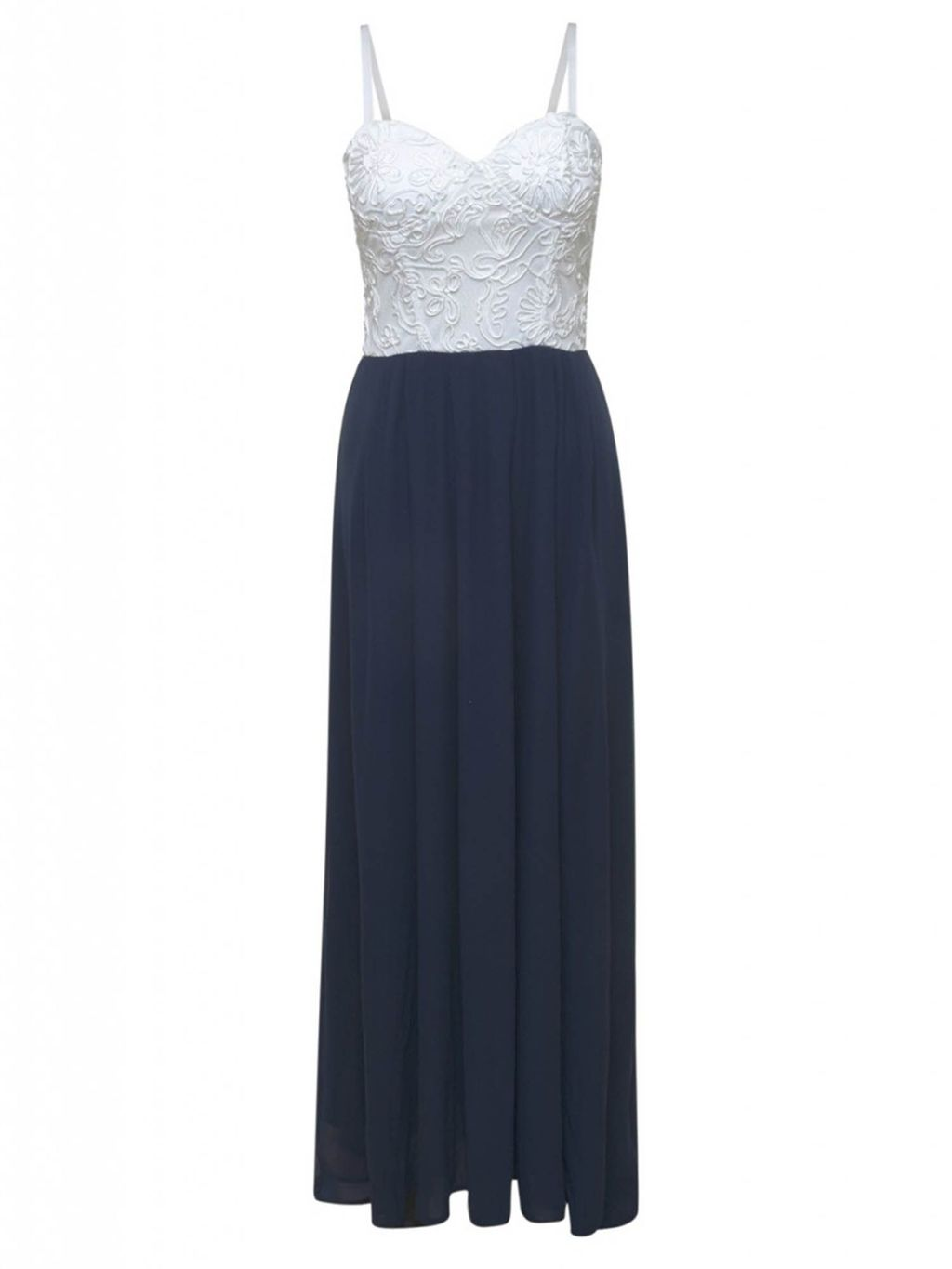 Contrast Lace Bodice Maxi Dress, Navy - sleeve style: standard vest straps/shoulder straps; style: maxi dress; neckline: sweetheart; back detail: back revealing; secondary colour: white; predominant colour: navy; length: floor length; fit: soft a-line; fibres: polyester/polyamide - 100%; occasions: occasion; sleeve length: sleeveless; texture group: sheer fabrics/chiffon/organza etc.; pattern type: fabric; pattern size: standard; pattern: colourblock; embellishment: lace; multicoloured: multicoloured; season: s/s 2016; wardrobe: event