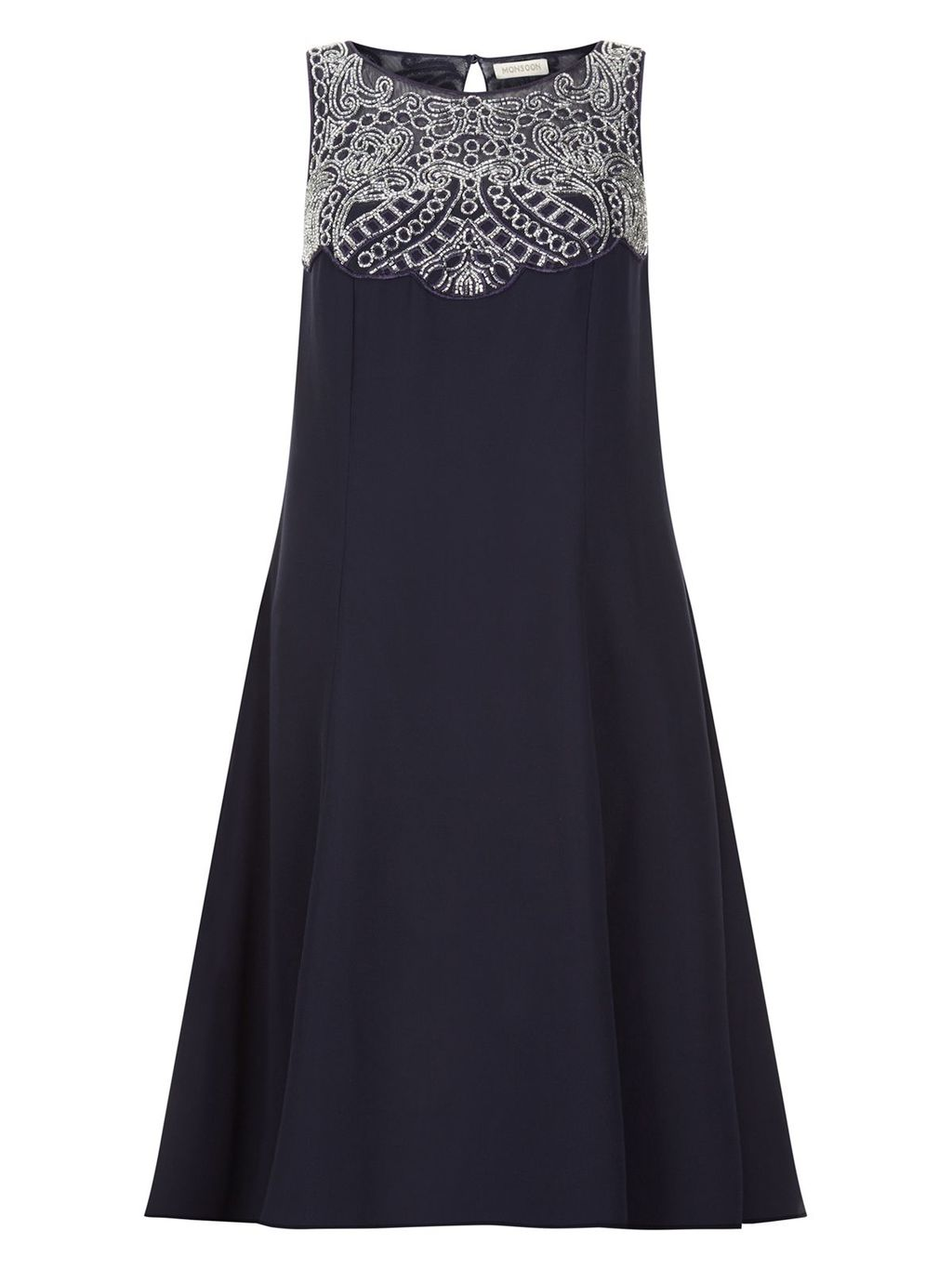 Clover Dress, Navy - style: shift; sleeve style: sleeveless; predominant colour: navy; secondary colour: light grey; occasions: evening; length: on the knee; fit: body skimming; fibres: polyester/polyamide - 100%; neckline: crew; hip detail: subtle/flattering hip detail; sleeve length: sleeveless; pattern type: fabric; pattern: patterned/print; texture group: other - light to midweight; multicoloured: multicoloured; season: s/s 2016; wardrobe: event