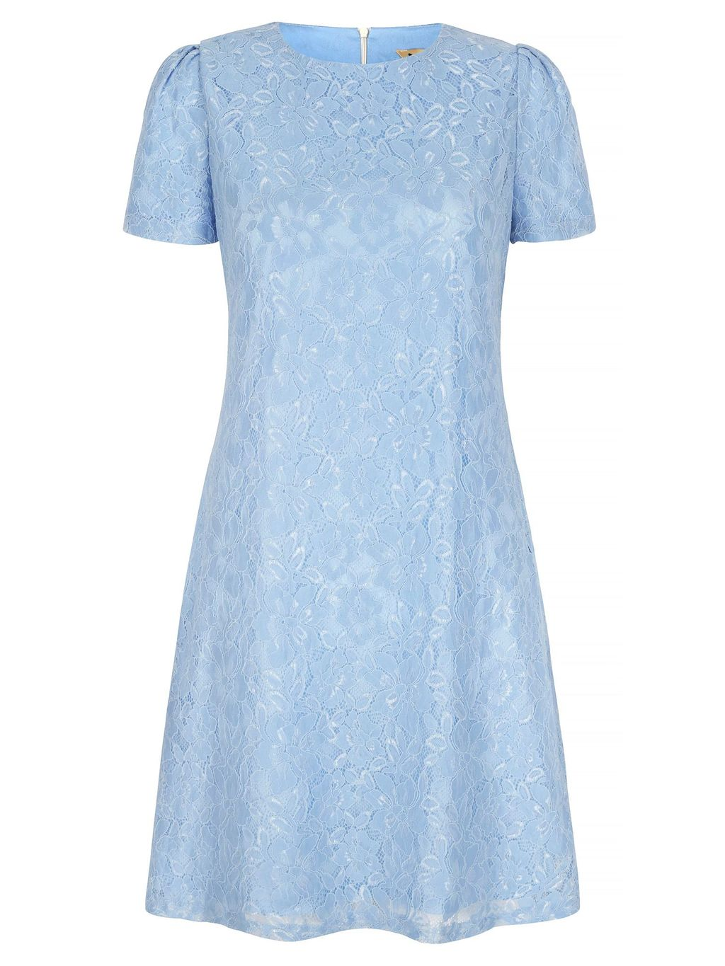 Lace Occasion Dress, Blue - style: shift; predominant colour: pale blue; occasions: evening; length: just above the knee; fit: body skimming; fibres: polyester/polyamide - 100%; neckline: crew; sleeve length: short sleeve; sleeve style: standard; texture group: lace; pattern type: fabric; pattern size: standard; pattern: patterned/print; season: s/s 2016; wardrobe: event
