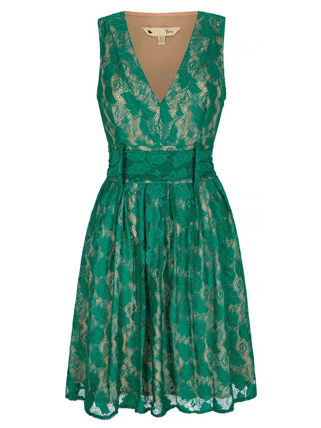 Vintage Lace Dress, Green - neckline: v-neck; sleeve style: sleeveless; predominant colour: emerald green; length: on the knee; fit: fitted at waist & bust; style: fit & flare; fibres: polyester/polyamide - stretch; occasions: occasion; sleeve length: sleeveless; texture group: lace; pattern type: fabric; pattern size: standard; pattern: patterned/print; embellishment: lace; season: s/s 2016; wardrobe: event; embellishment location: pattern
