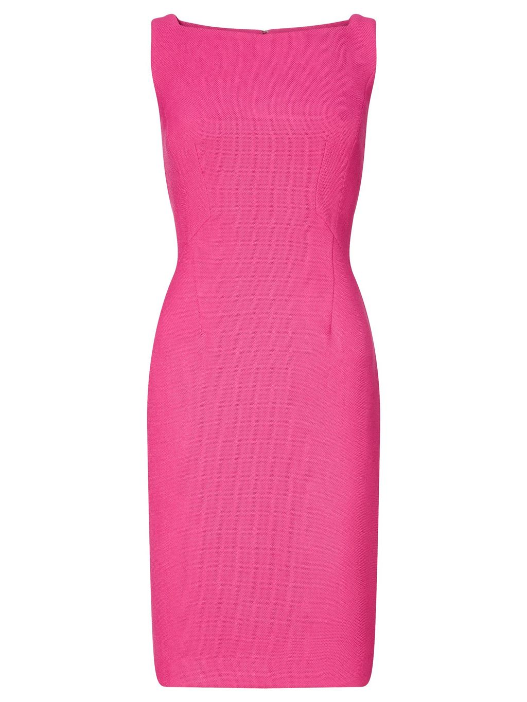 Solid Pique Sheath Dress, Pink - style: shift; fit: tailored/fitted; pattern: plain; sleeve style: sleeveless; predominant colour: hot pink; occasions: evening; length: just above the knee; fibres: polyester/polyamide - stretch; neckline: crew; sleeve length: sleeveless; pattern type: fabric; texture group: other - light to midweight; season: s/s 2016; wardrobe: event