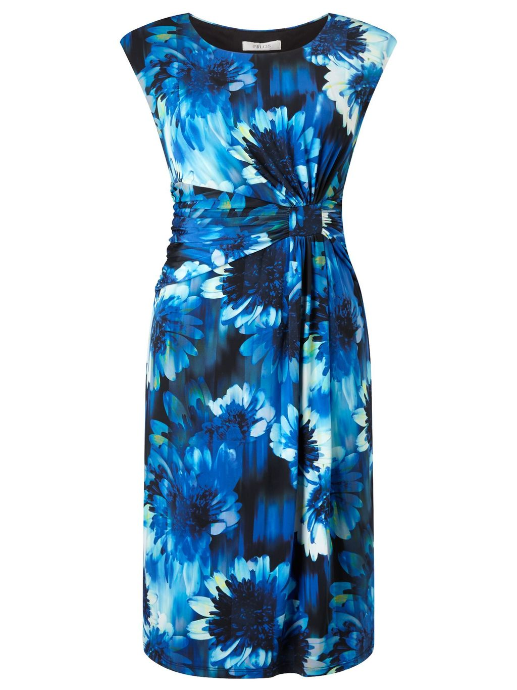Blurred Floral Dress, Multi Coloured - style: shift; sleeve style: capped; fit: tailored/fitted; secondary colour: ivory/cream; predominant colour: navy; occasions: evening; length: just above the knee; fibres: polyester/polyamide - stretch; neckline: crew; hip detail: subtle/flattering hip detail; sleeve length: short sleeve; pattern type: fabric; pattern: florals; texture group: jersey - stretchy/drapey; multicoloured: multicoloured; season: s/s 2016; wardrobe: event