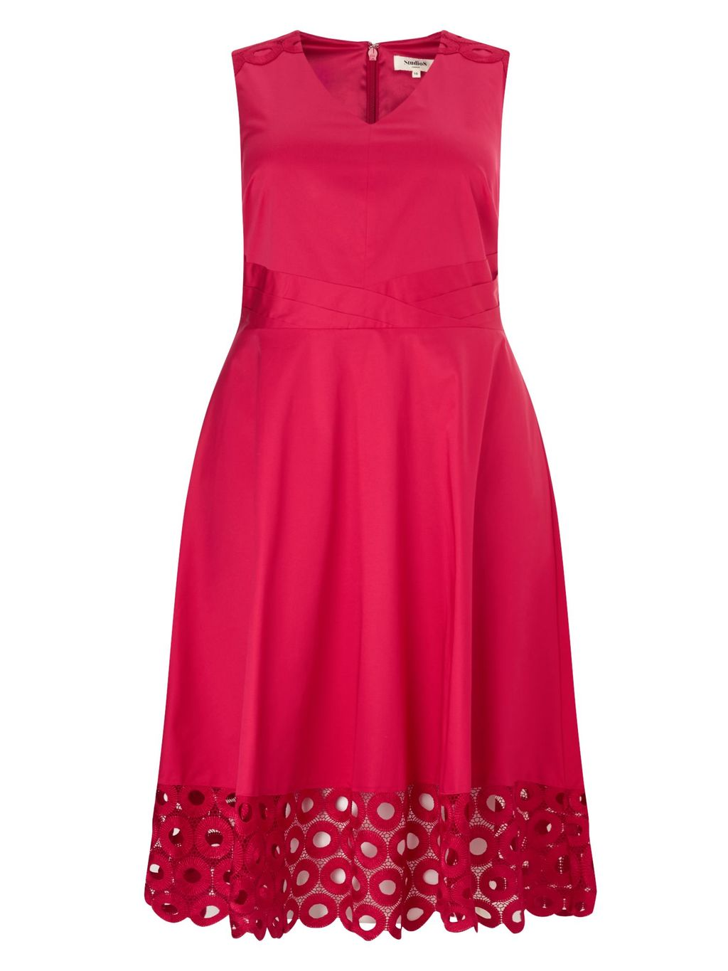 Adelaide Dress, Pink - neckline: v-neck; pattern: plain; sleeve style: sleeveless; predominant colour: hot pink; occasions: evening; length: just above the knee; fit: fitted at waist & bust; style: fit & flare; fibres: cotton - stretch; sleeve length: sleeveless; pattern type: fabric; texture group: other - light to midweight; embellishment: lace; season: s/s 2016; wardrobe: event; embellishment location: hem