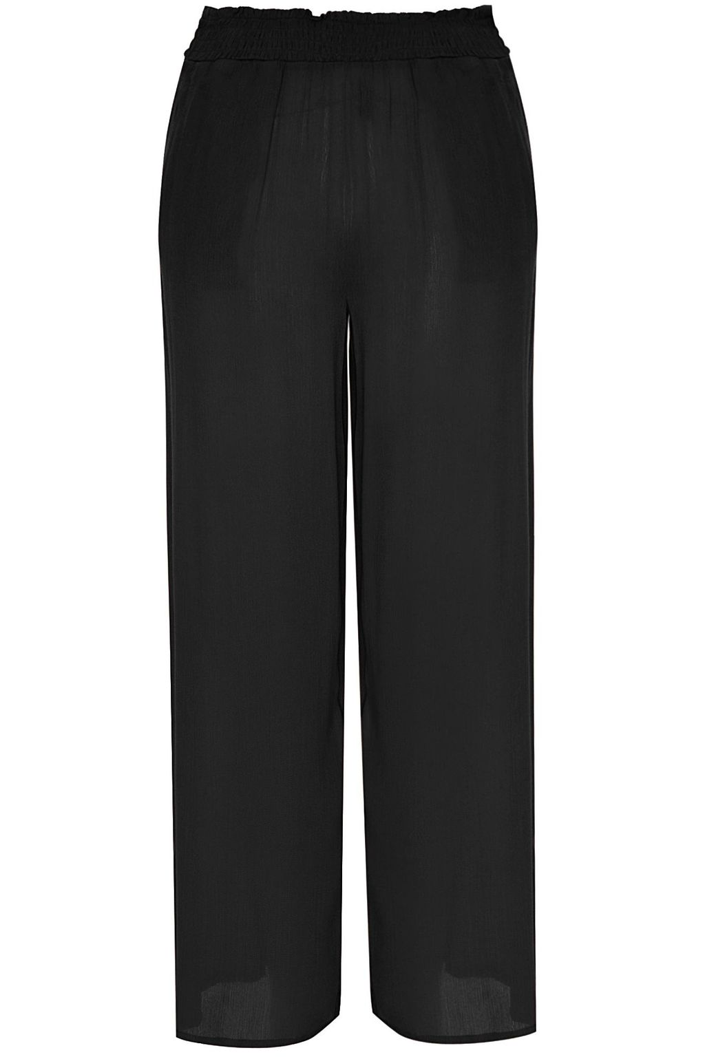 Wide Leg Trousers, Black - length: standard; pattern: plain; waist detail: elasticated waist; waist: mid/regular rise; predominant colour: black; occasions: evening; fibres: polyester/polyamide - 100%; fit: wide leg; pattern type: fabric; texture group: woven light midweight; style: standard; pattern size: standard (bottom); season: s/s 2016; wardrobe: event