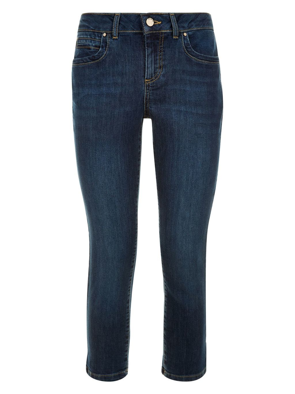 Isadora Capri, Denim - pattern: plain; style: capri; waist: mid/regular rise; predominant colour: denim; occasions: casual, creative work; length: calf length; fibres: cotton - stretch; texture group: denim; fit: skinny/tight leg; pattern type: fabric; season: s/s 2016; wardrobe: highlight