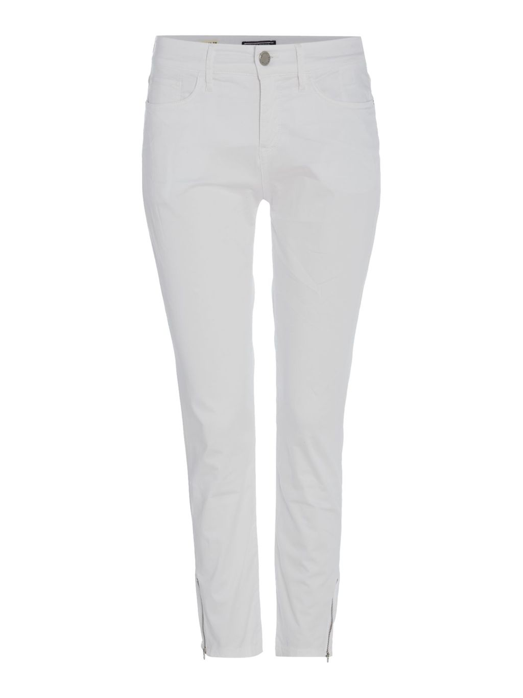 Judy Milan Pants, White - pattern: plain; waist: mid/regular rise; predominant colour: white; occasions: casual; length: ankle length; fibres: cotton - stretch; texture group: cotton feel fabrics; fit: slim leg; pattern type: fabric; style: standard; season: s/s 2016; wardrobe: basic