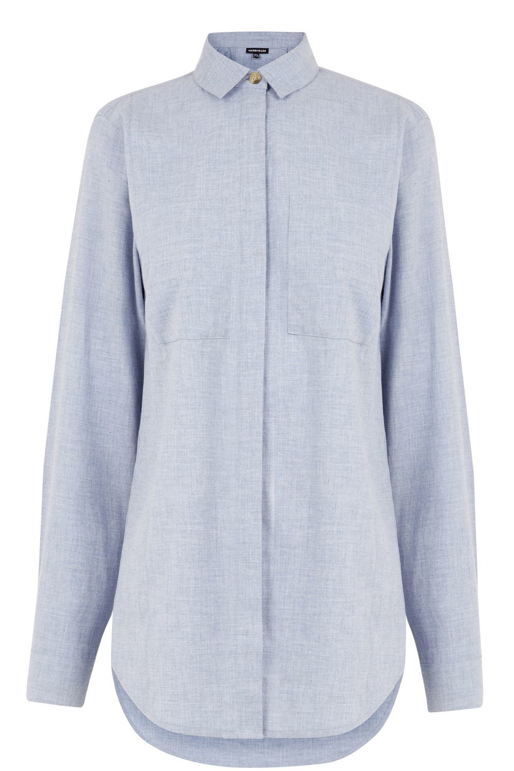 Relaxed Curved Hem Shirt, Blue - neckline: shirt collar/peter pan/zip with opening; pattern: plain; length: below the bottom; style: shirt; predominant colour: pale blue; occasions: casual, creative work; fibres: cotton - 100%; fit: loose; sleeve length: long sleeve; sleeve style: standard; texture group: cotton feel fabrics; bust detail: bulky details at bust; pattern type: fabric; season: s/s 2016; wardrobe: highlight
